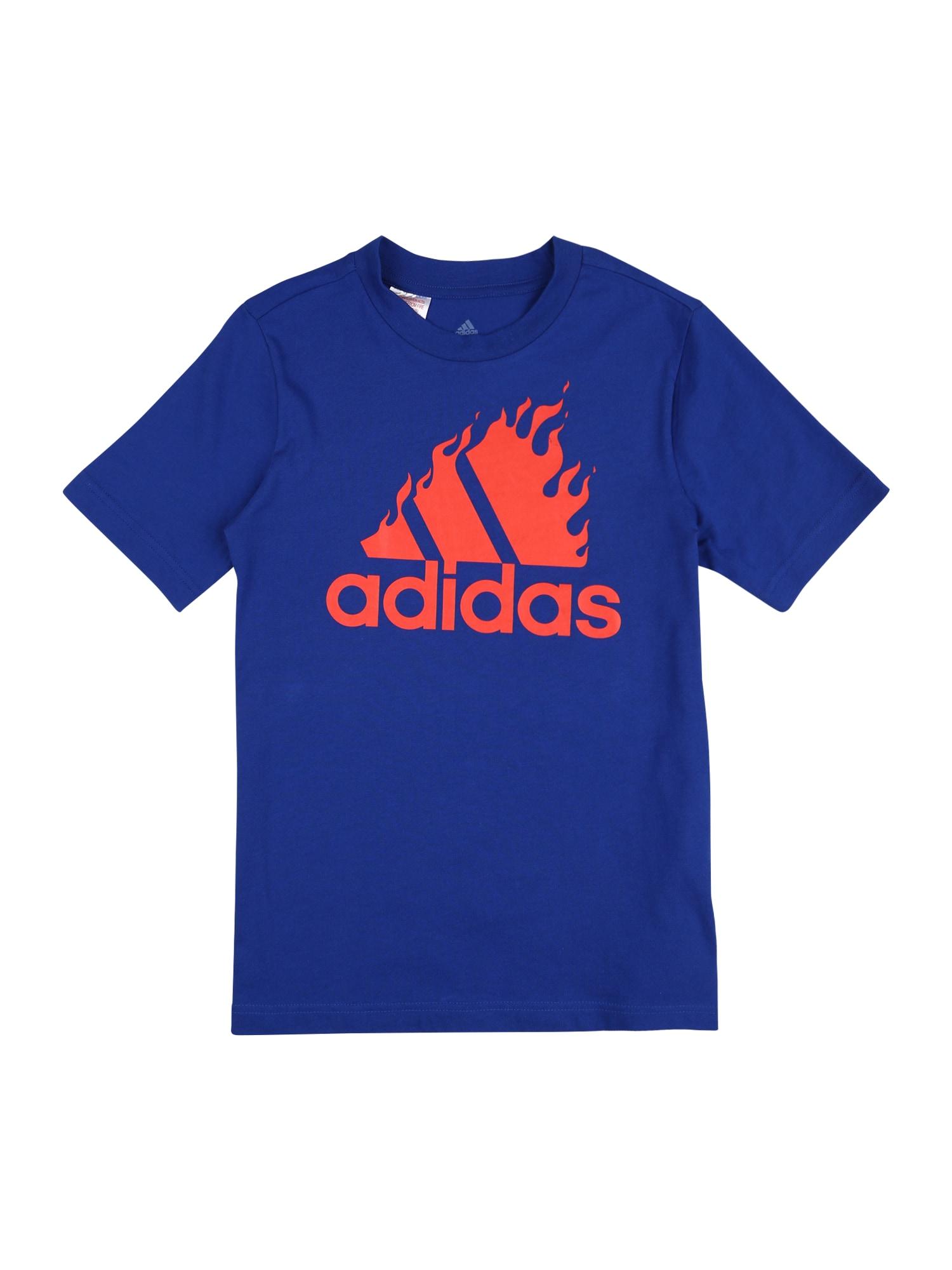 """ADIDAS PERFORMANCE Sportiniai marškinėliai sodri mėlyna (""""karališka"""") / šviesiai raudona"""