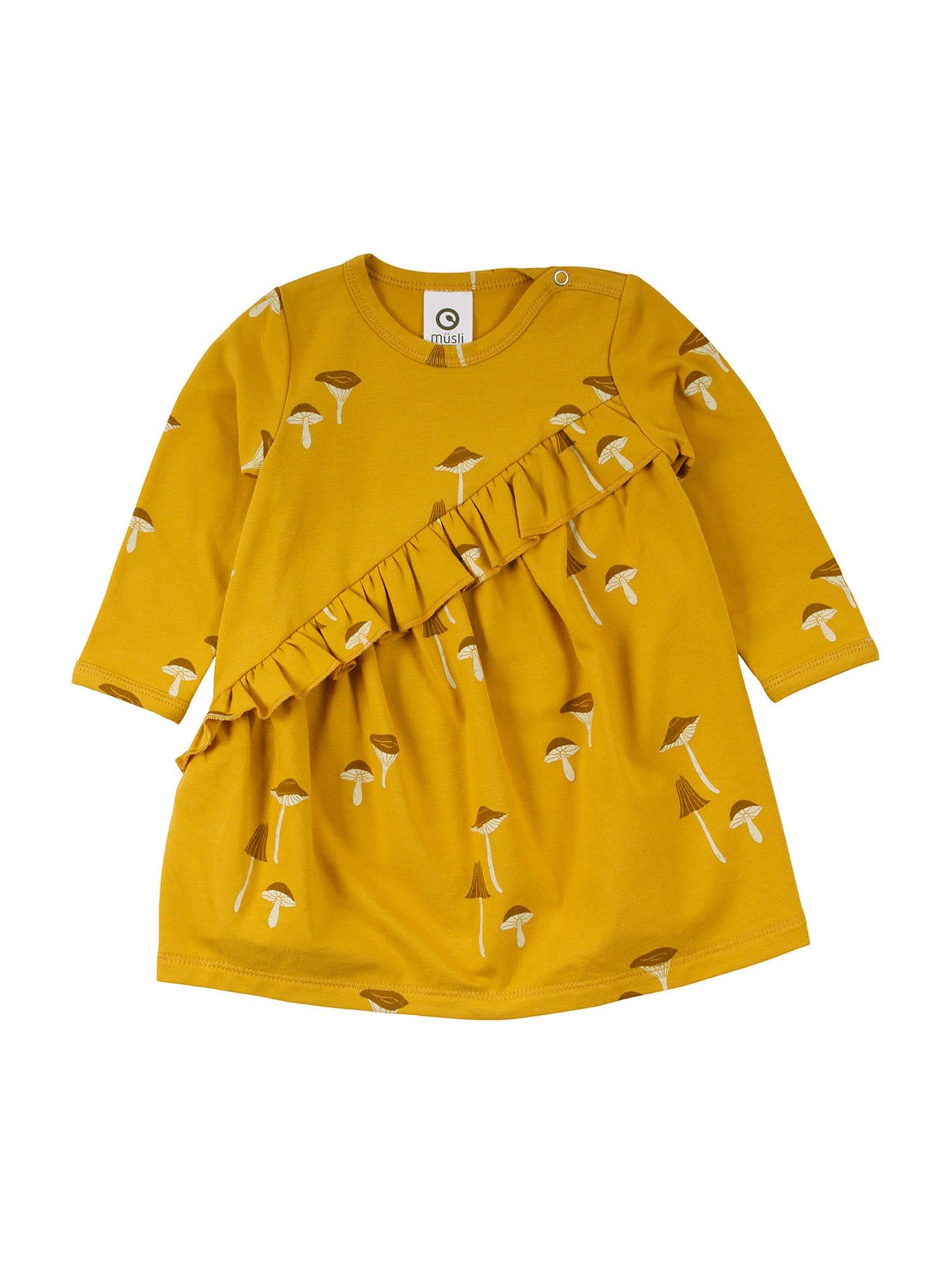 Müsli by GREEN COTTON Suknelė aukso geltonumo spalva / šviesiai geltona / rusvai oranžinė