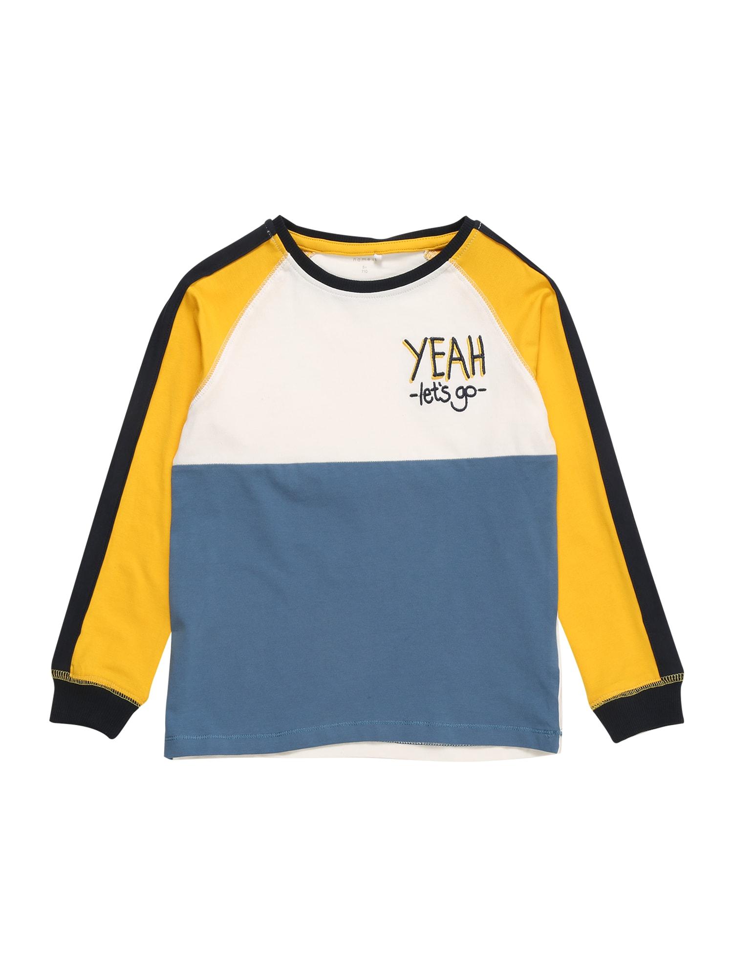 NAME IT Tričko 'ROBBY'  zlatě žlutá / bílá / kouřově modrá / marine modrá