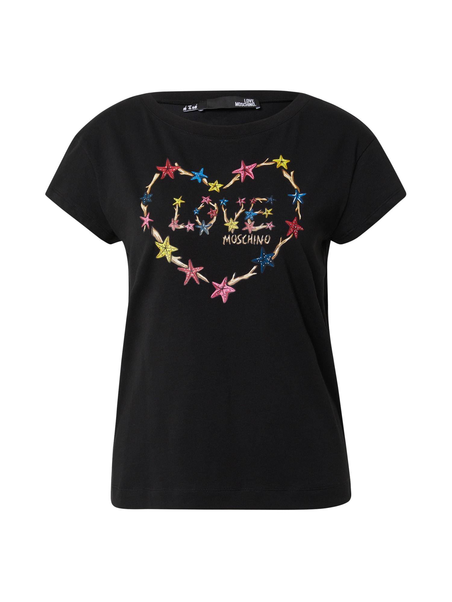 Love Moschino Marškinėliai juoda / mišrios spalvos