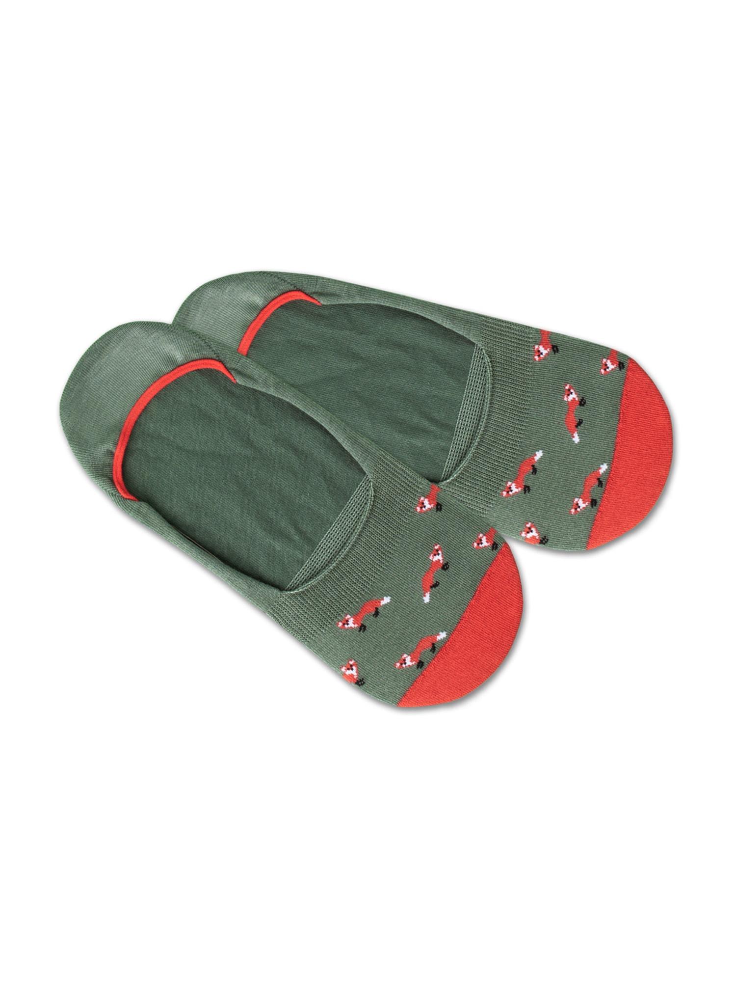 DillySocks Ťapky 'IN20-08 Hidden Fox'  bílá / zelená / červená