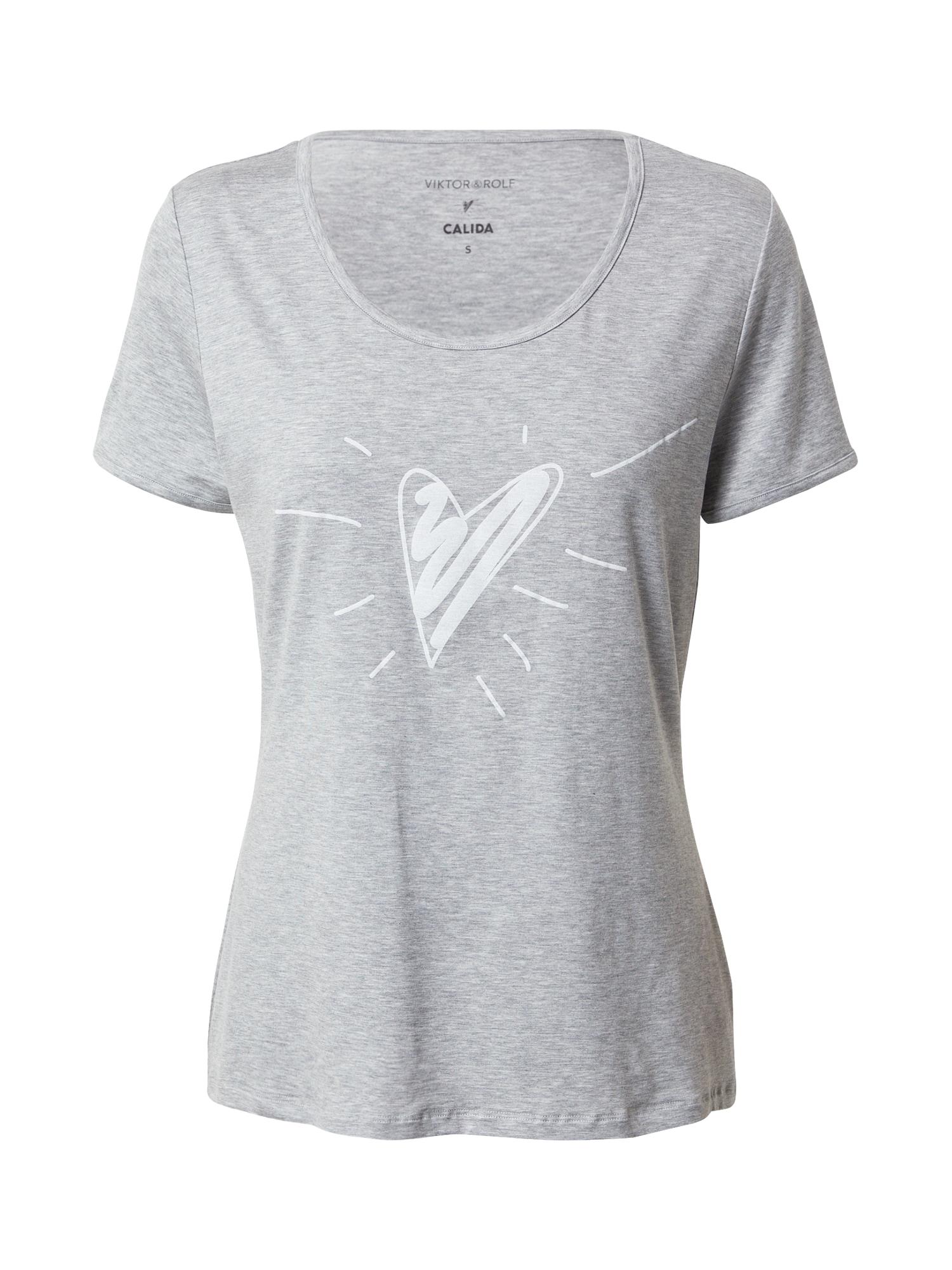 CALIDA Marškinėliai pilka / balta