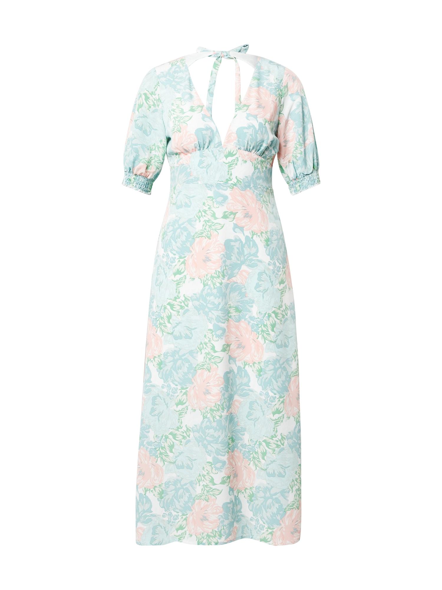 Fashion Union Suknelė balta / šviesiai mėlyna / turkio spalva / rožių spalva