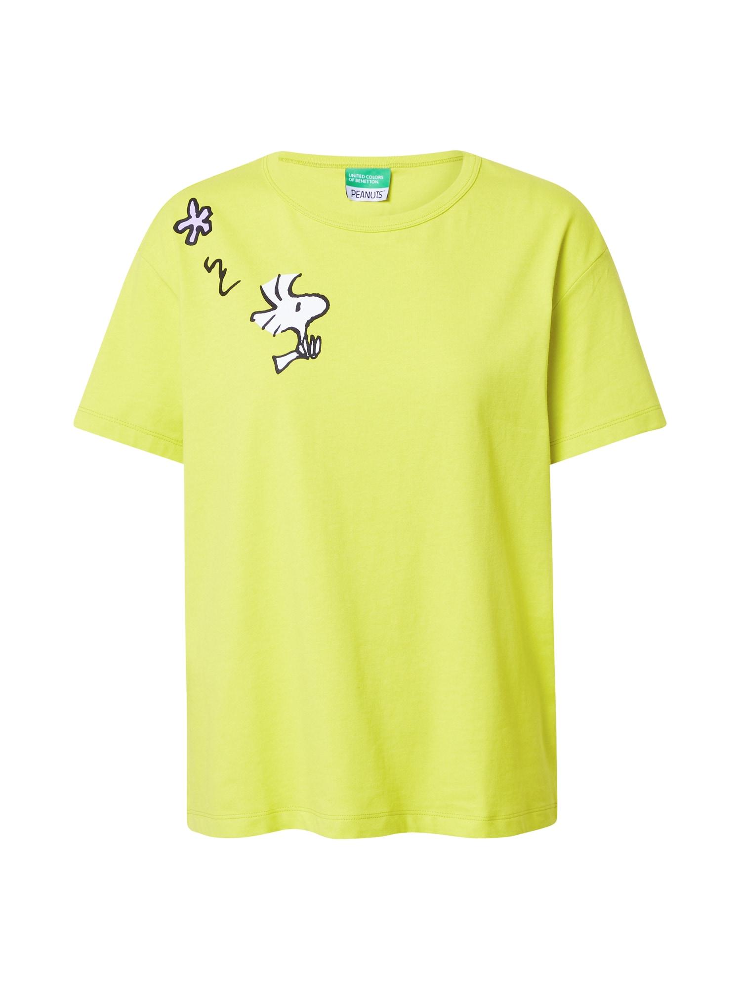 UNITED COLORS OF BENETTON Tričko  žlutá / bílá / černá
