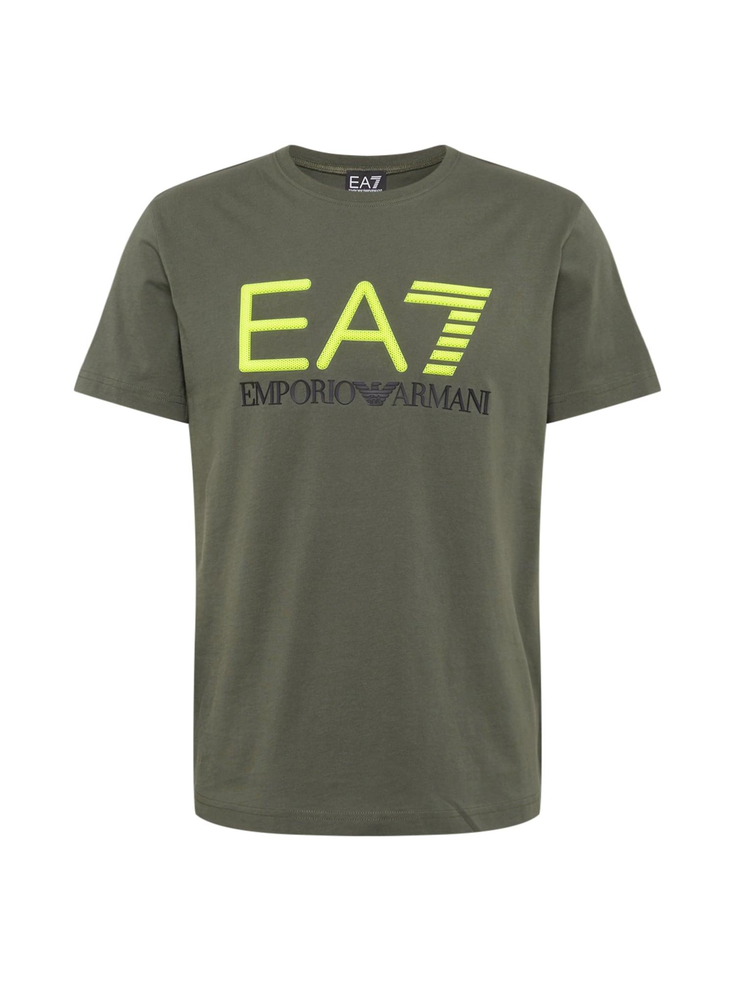 EA7 Emporio Armani Marškinėliai alyvuogių spalva / obuolių spalva
