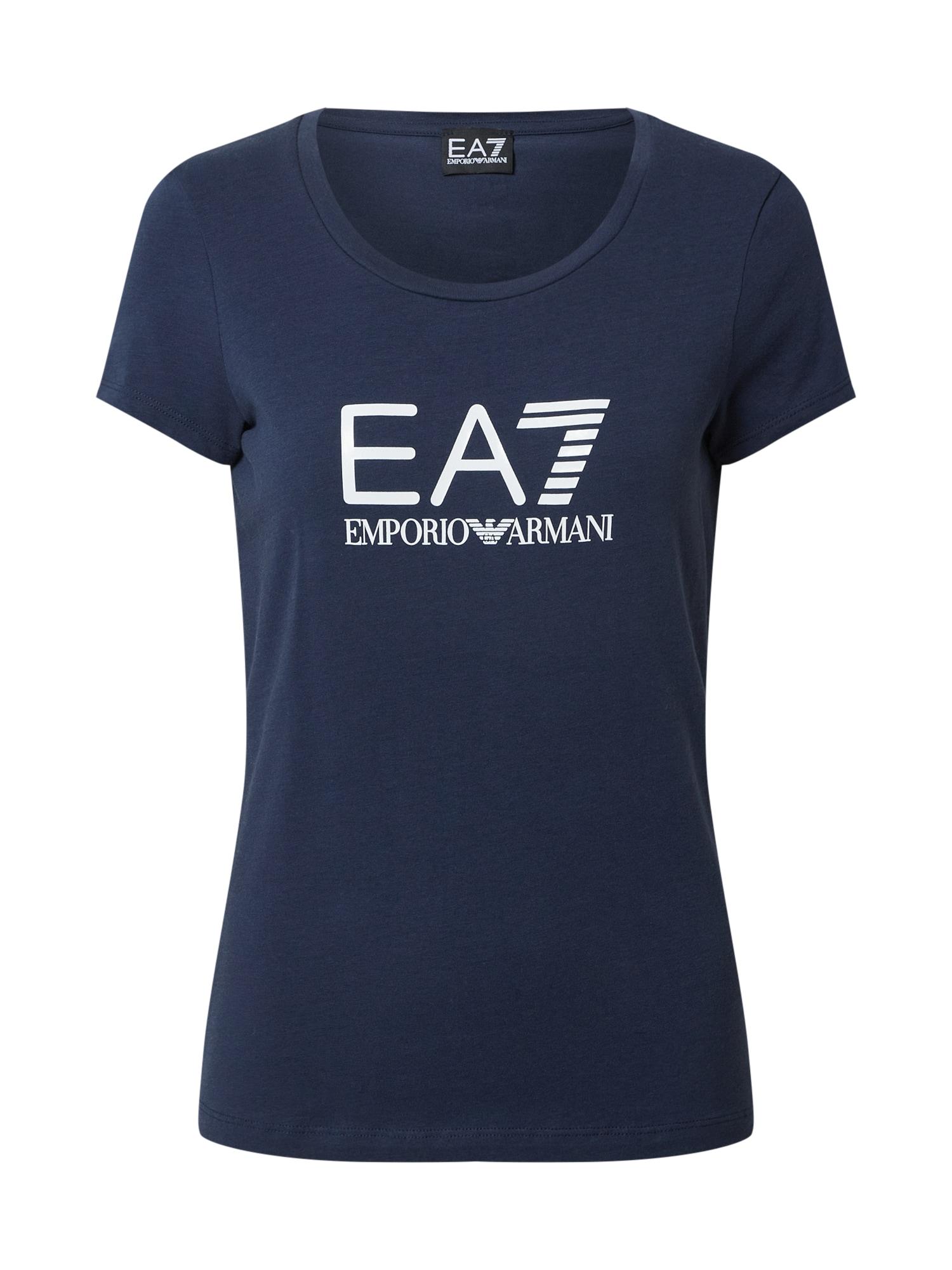 EA7 Emporio Armani Marškinėliai tamsiai mėlyna / balta