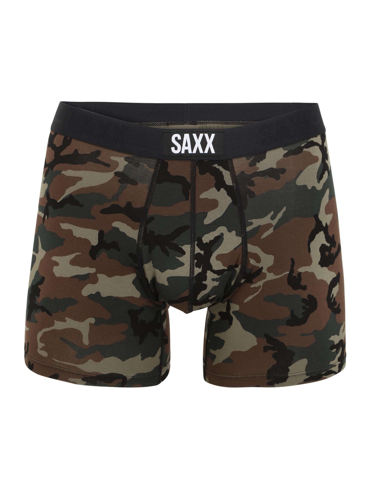 SAXX Boxer trumpikės tamsiai žalia / tamsiai ruda / juoda / kapučino spalva / balta