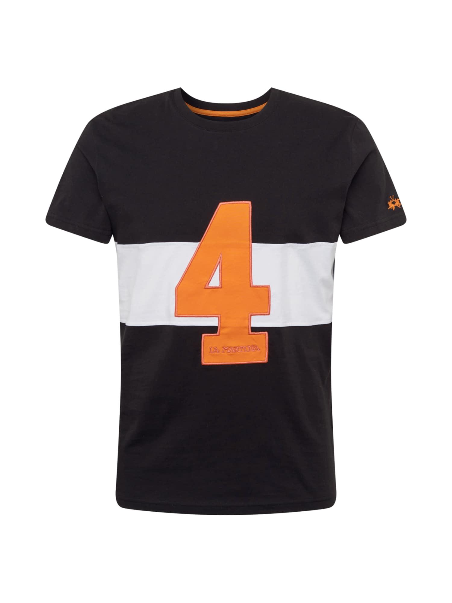 La Martina Marškinėliai juoda / balta / oranžinė
