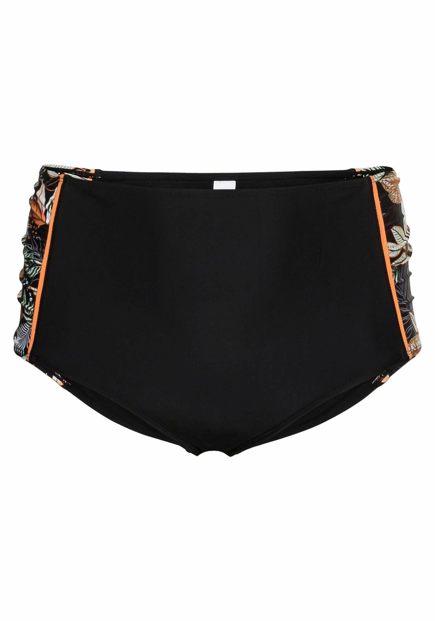 SHEEGO Bikinio kelnaitės juoda / oranžinė / balta / žalia / uogų spalva