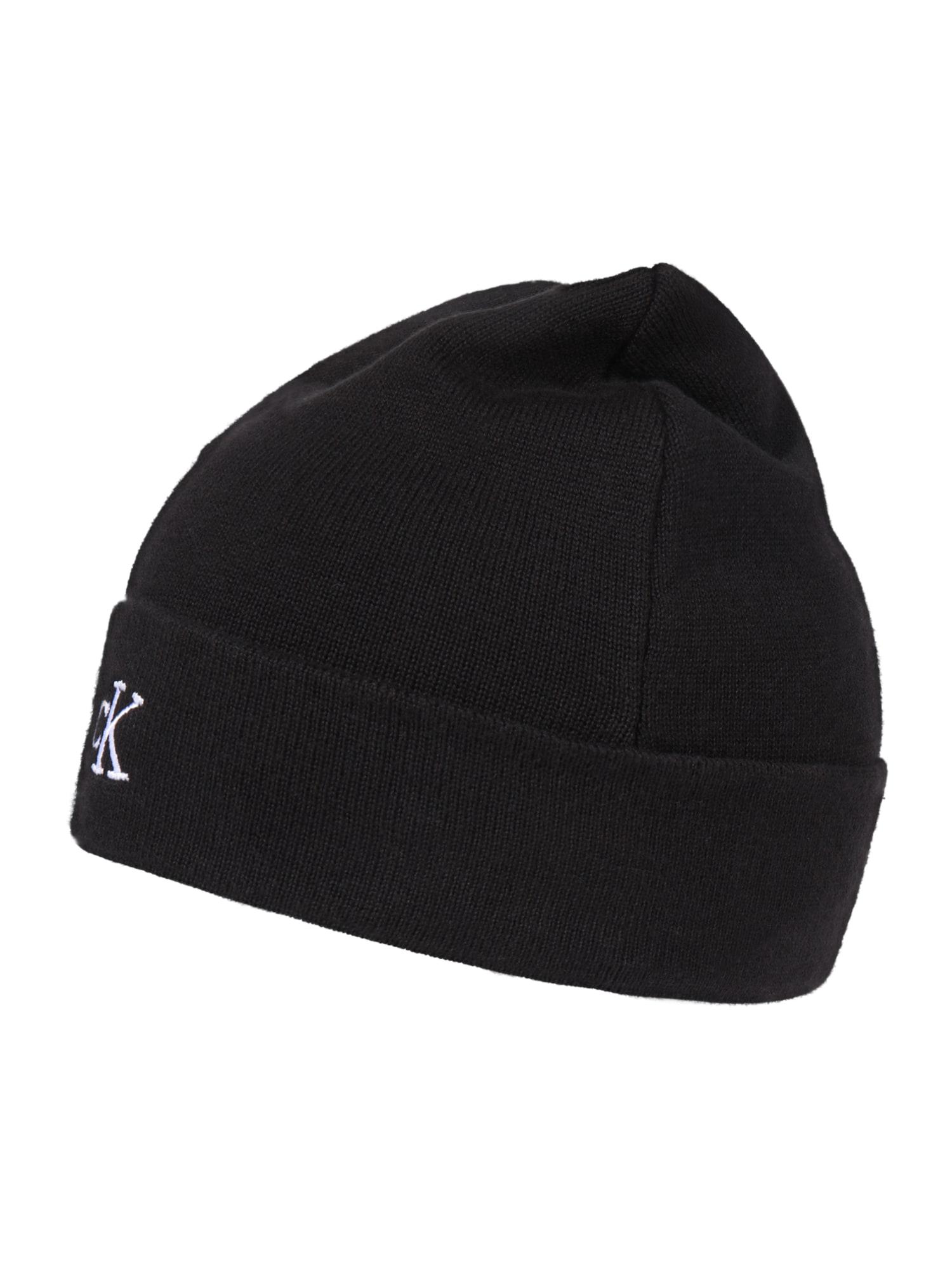 Calvin Klein Jeans Megzta kepurė juoda / balta