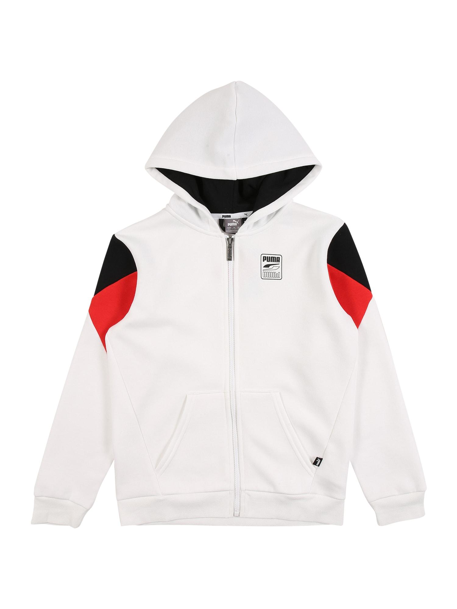 PUMA Sportovní mikina 'Rebel'  bílá / černá / červená