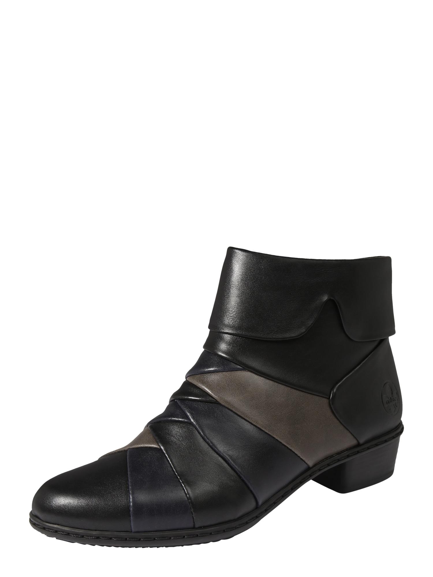 RIEKER Kotníkové boty  tmavě šedá / černá / kobaltová modř
