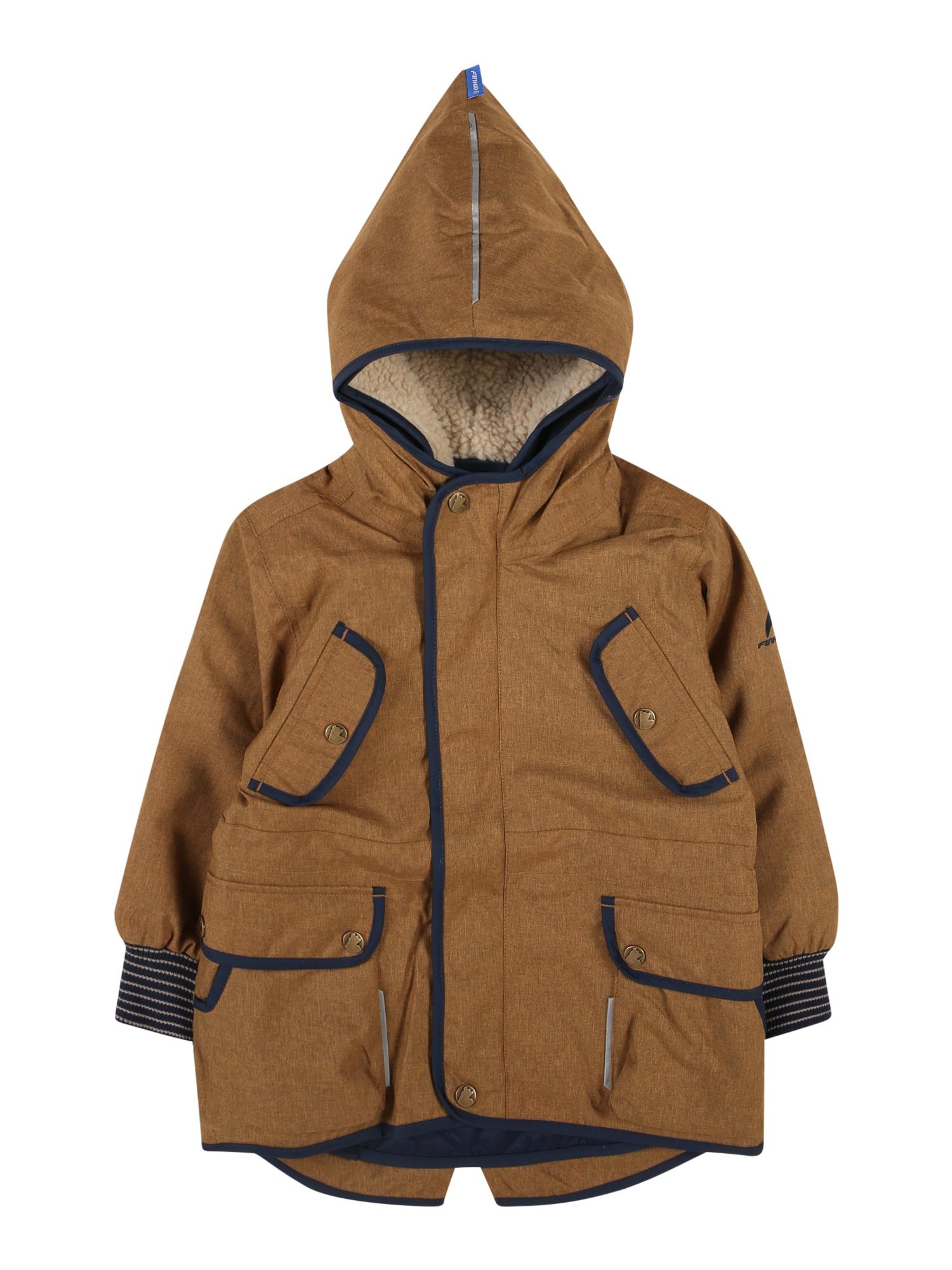 FINKID Žieminė striukė 'Kaveri Ice' tamsiai mėlyna / šviesiai ruda / glaisto spalva