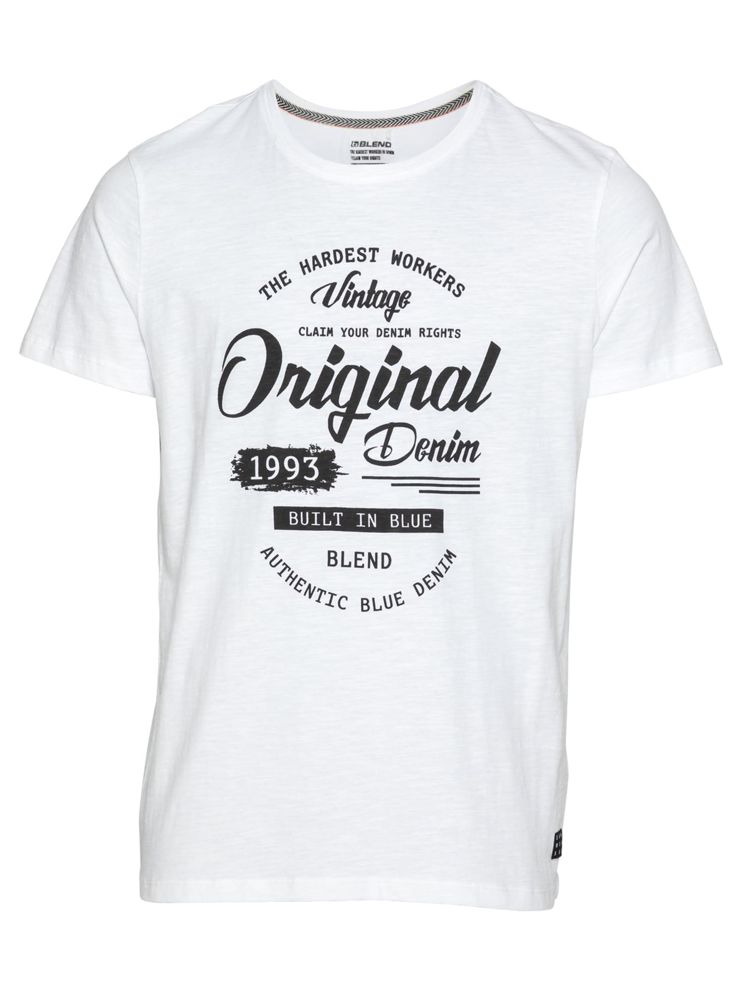 BLEND Marškinėliai balta / juoda