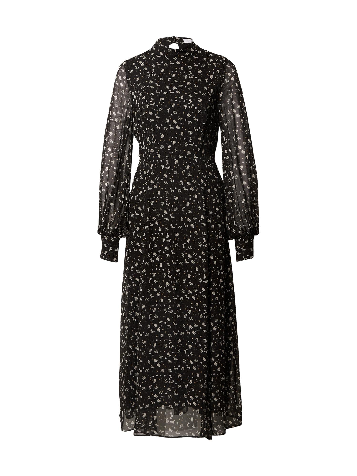 IVY & OAK Suknelė juoda / balta / rusvai žalia / geltona