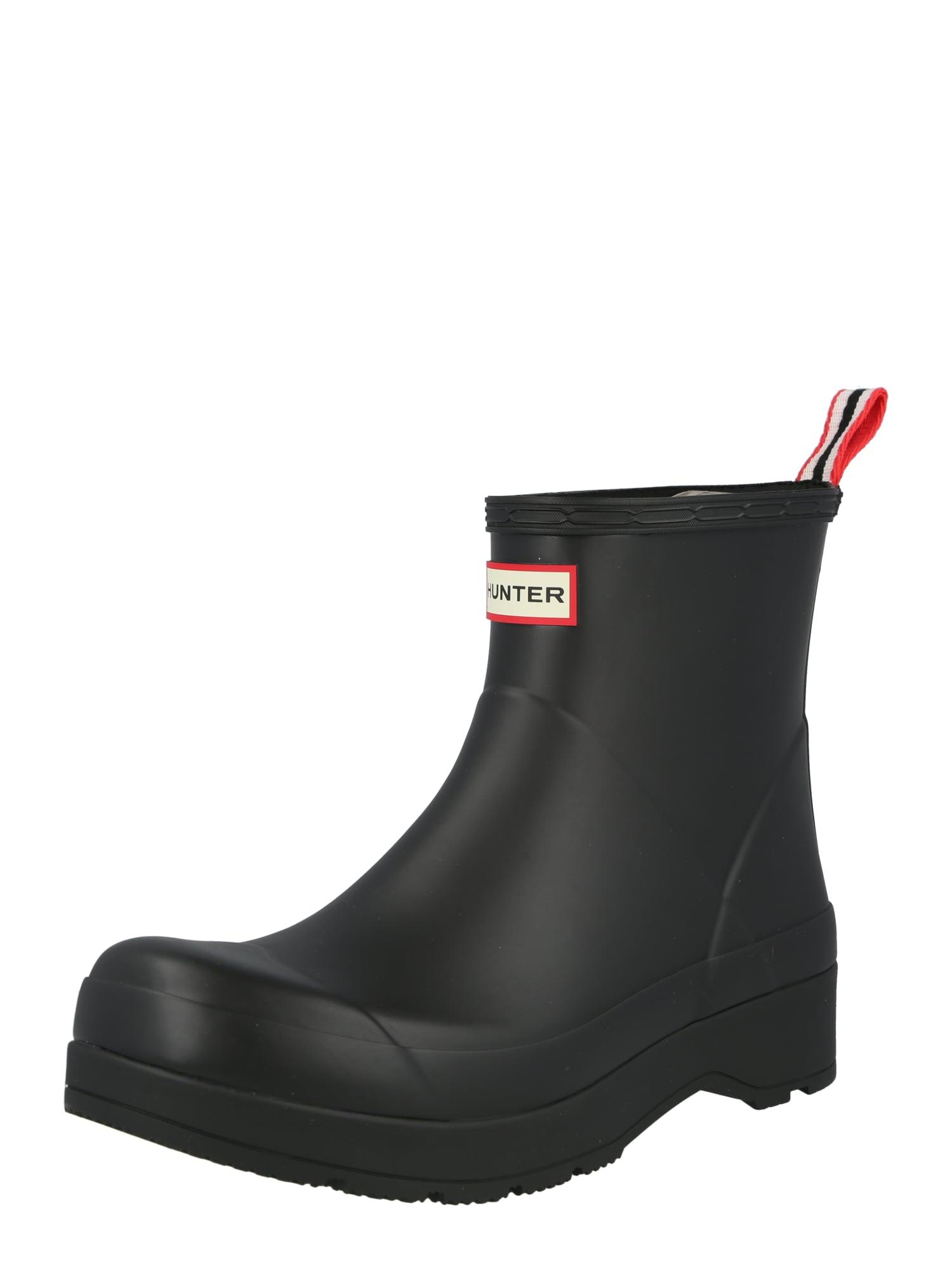 HUNTER Guminiai batai juoda / melionų spalva / balta