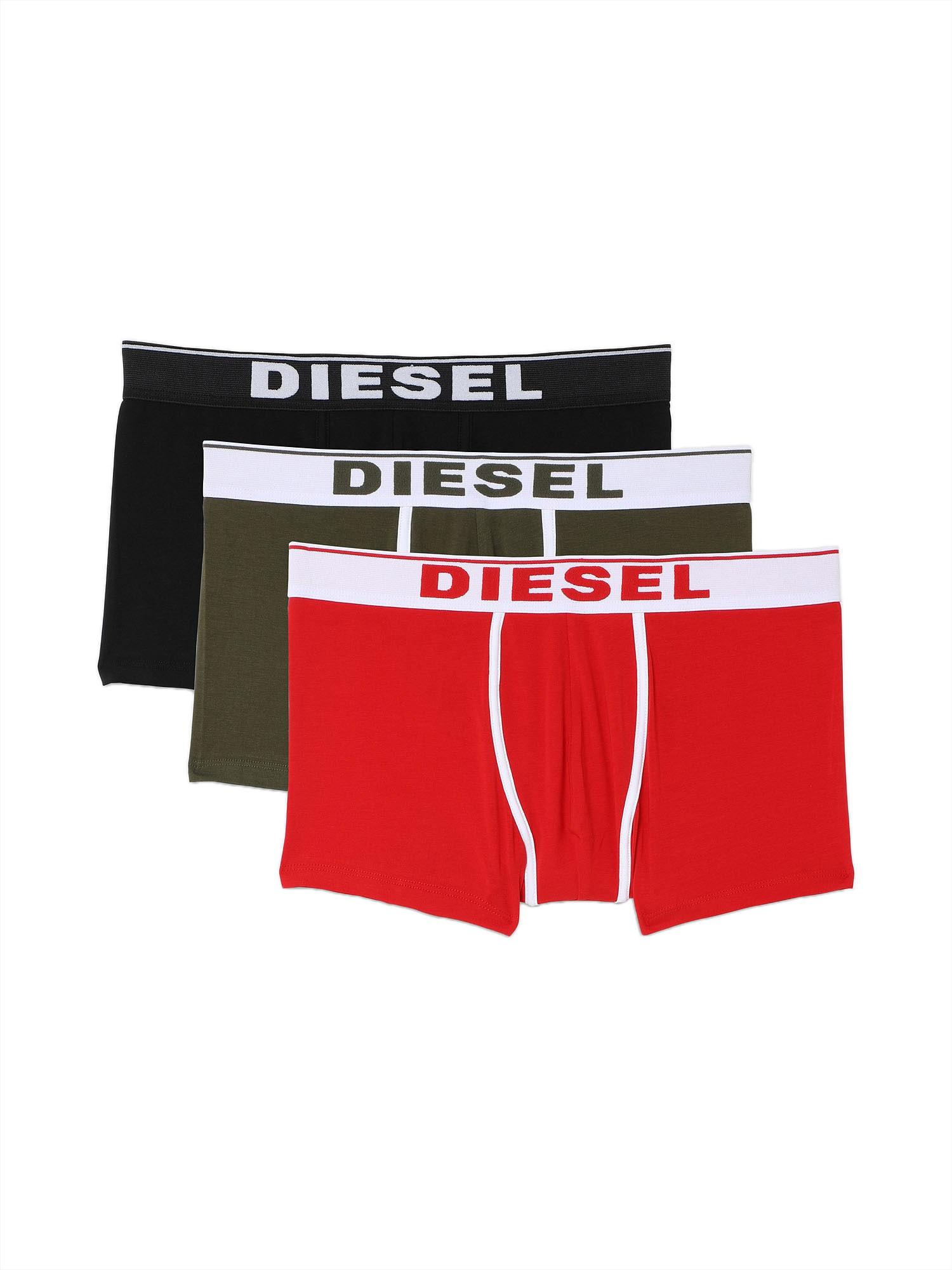DIESEL Boxer trumpikės juoda / šviesiai raudona / balta / alyvuogių spalva