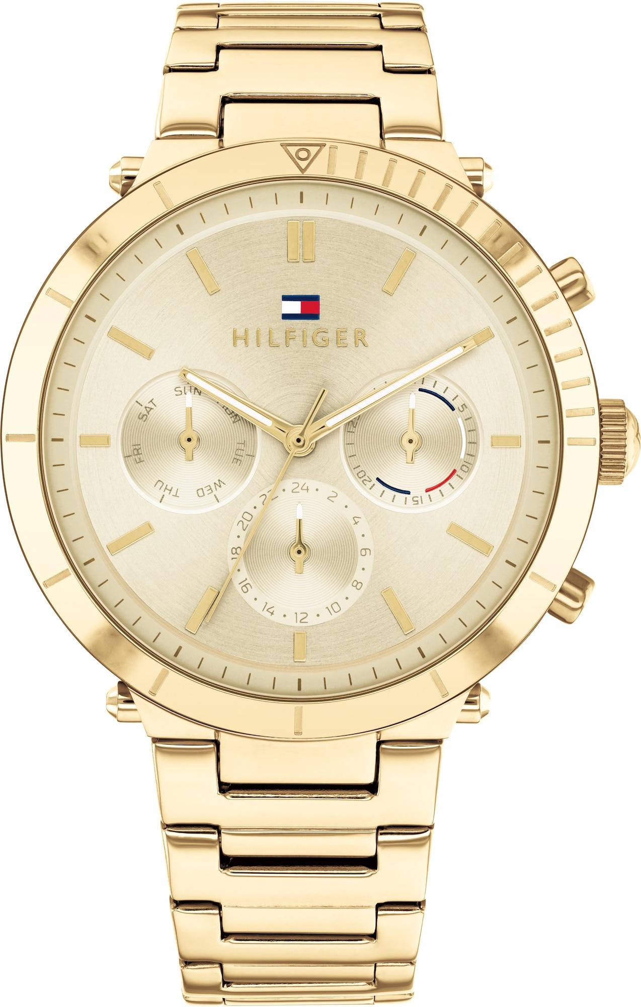 TOMMY HILFIGER Analoginis (įprasto dizaino) laikrodis auksas / tamsiai mėlyna / balta / raudona