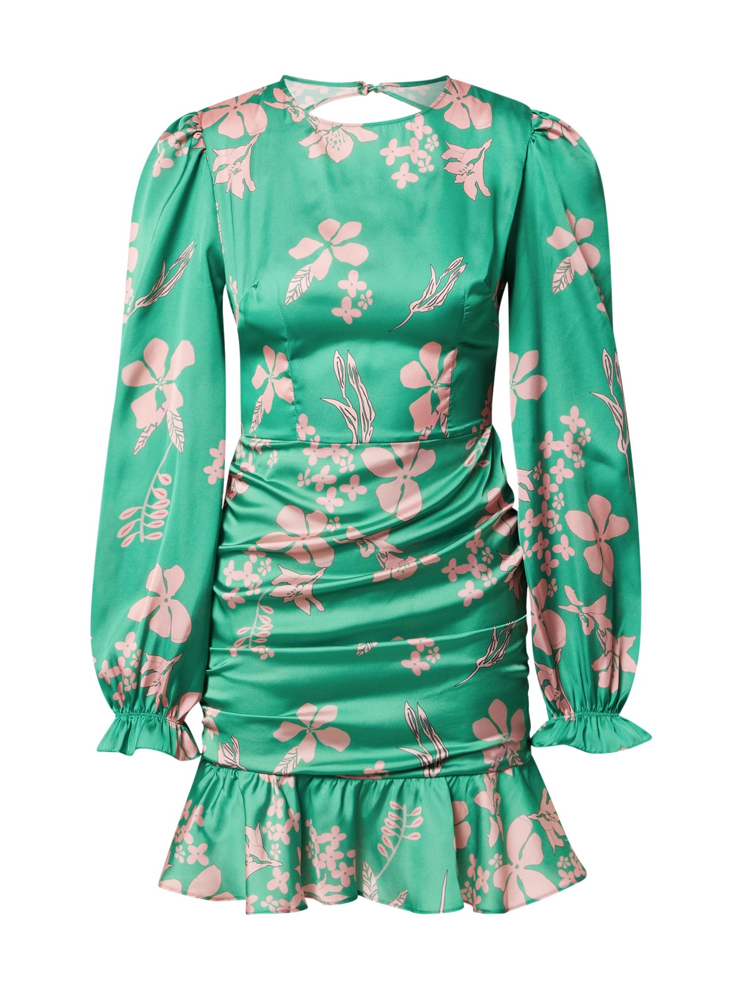 Trendyol Kokteilinė suknelė žalia / ryškiai rožinė spalva