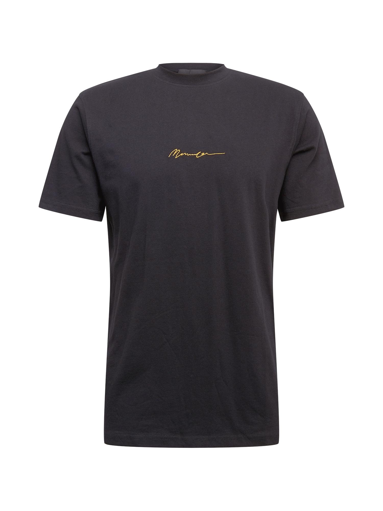 Mennace Marškinėliai juoda / aukso geltonumo spalva