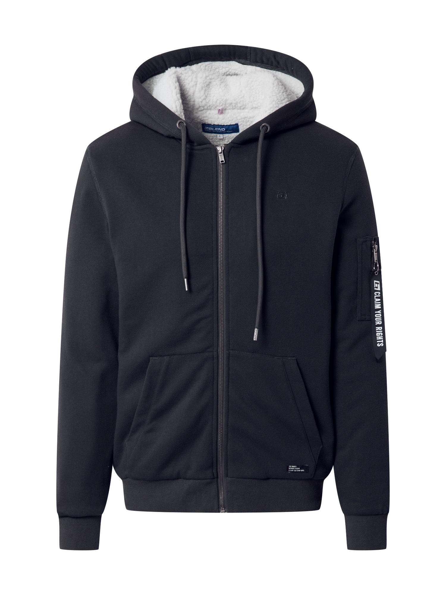 BLEND Džemperis tamsiai žalia / balkšva