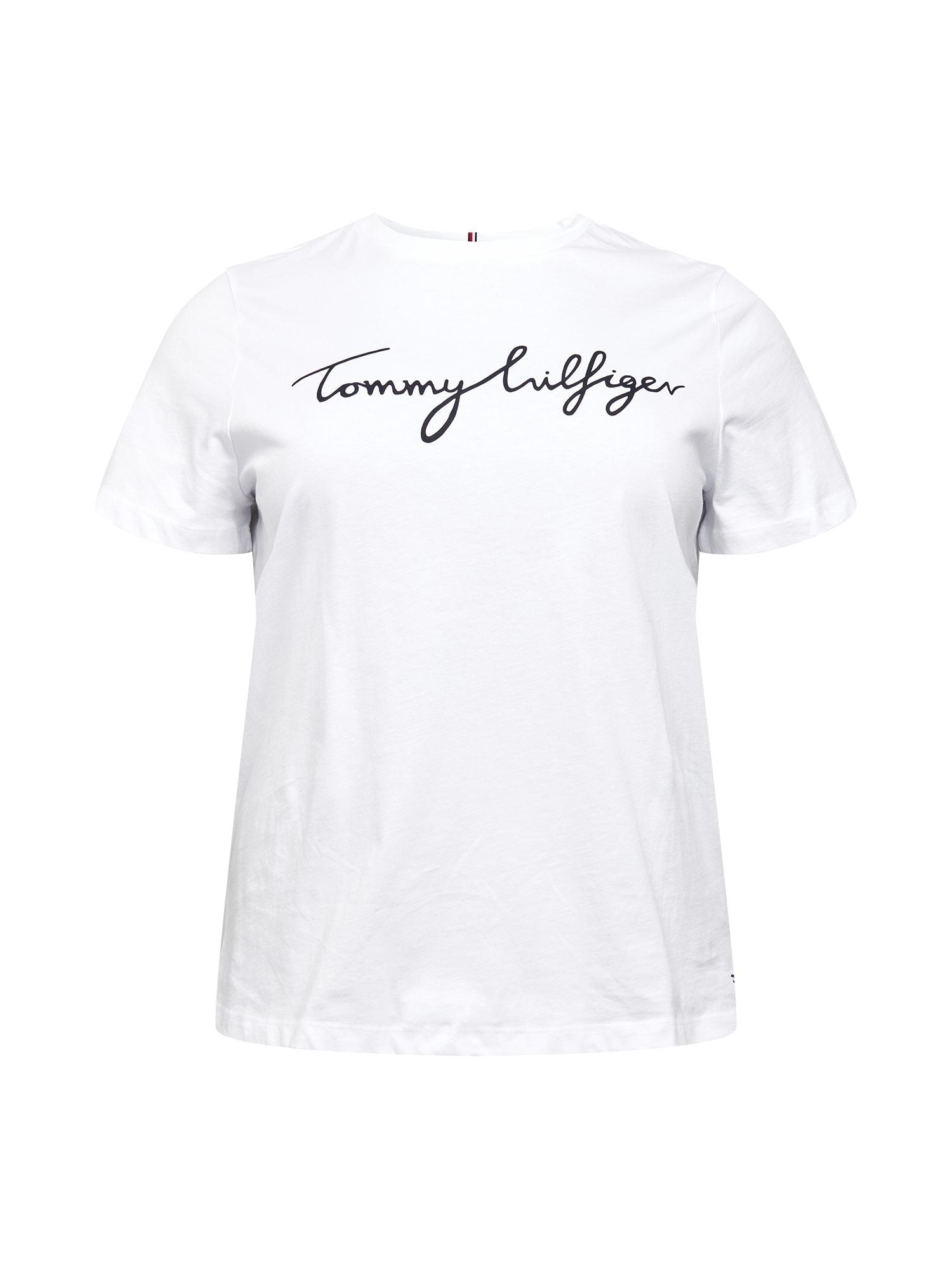Tommy Hilfiger Curve Marškinėliai balta / juoda
