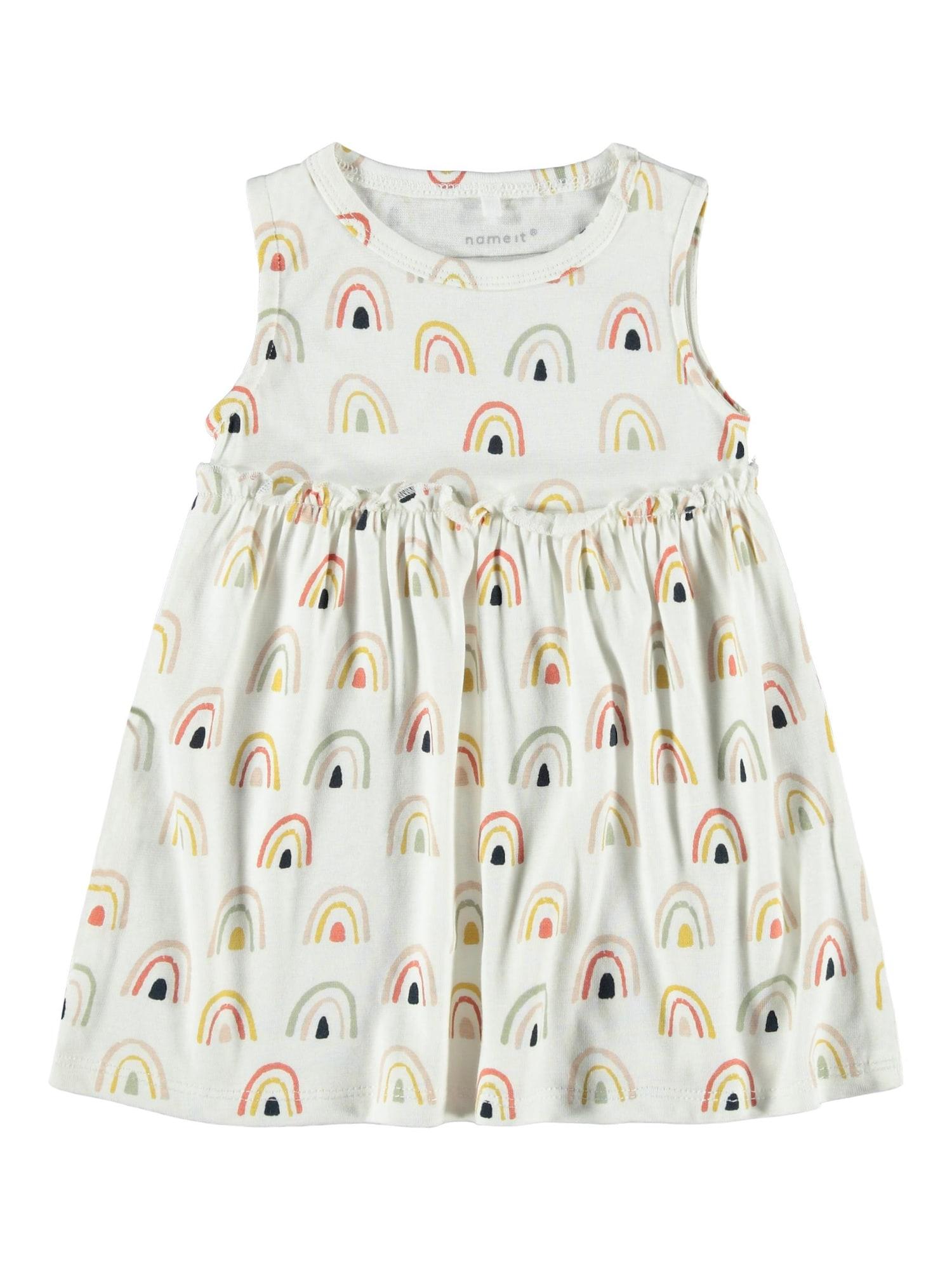 NAME IT Suknelė 'DAOMI SPENCER' balta / aukso geltonumo spalva / oranžinė / šviesiai žalia / juoda