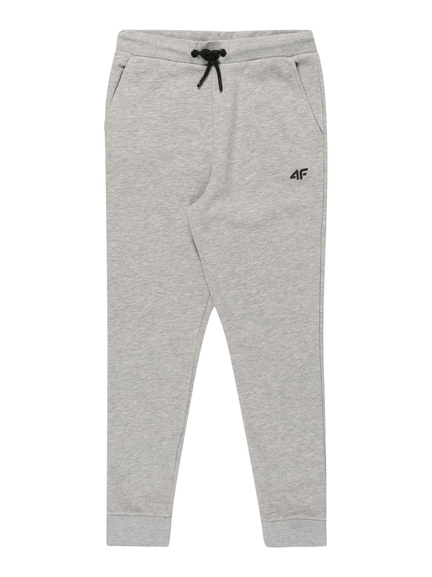 4F Sportinės kelnės šviesiai pilka / juoda