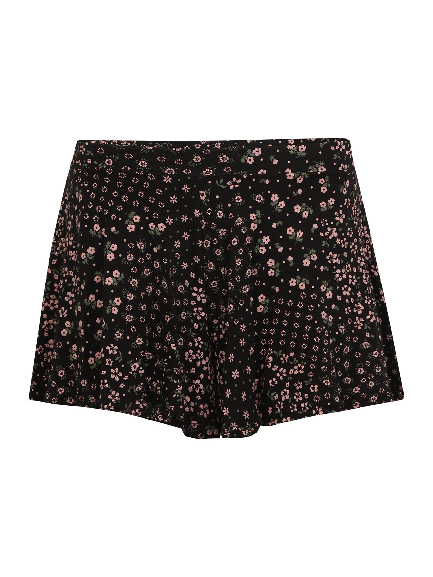 Missguided Petite Kelnės juoda / rožių spalva / pastelinė žalia