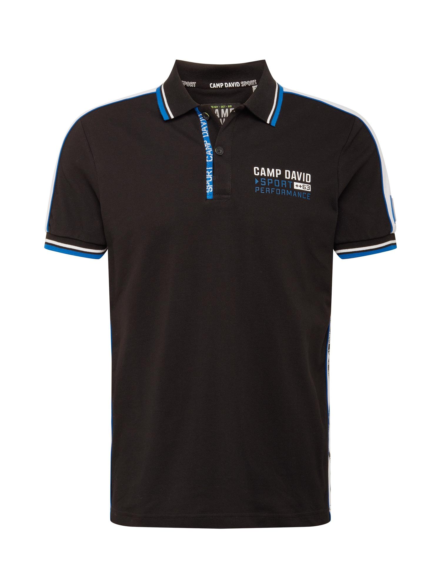 CAMP DAVID Marškinėliai juoda / balta / mėlyna