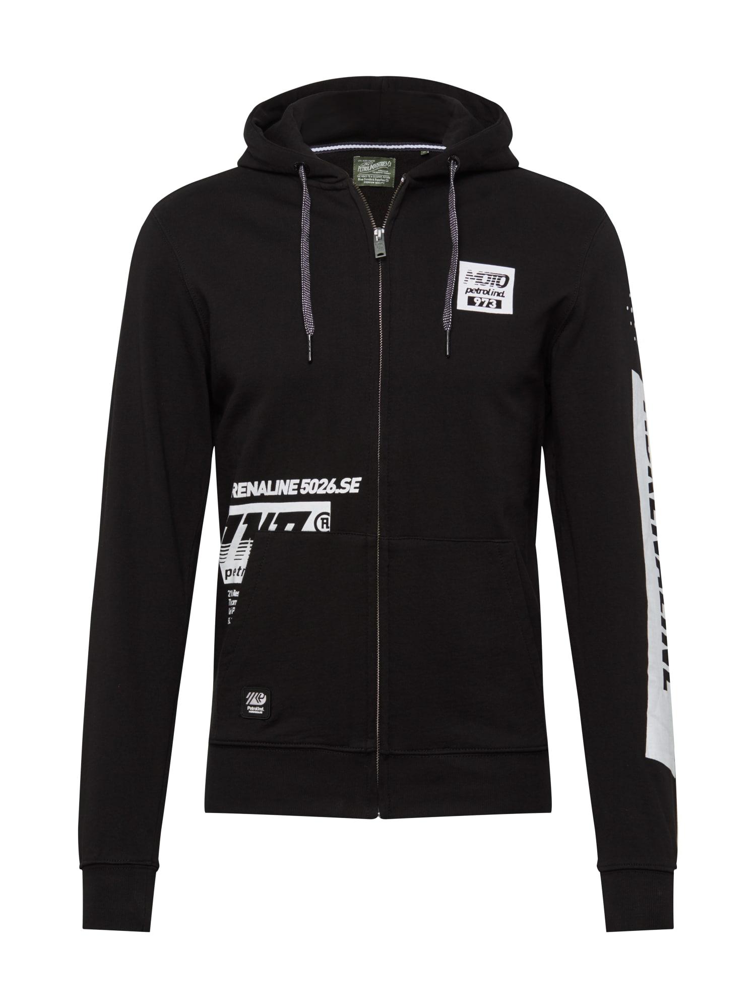 Petrol Industries Mikina s kapucí  černá / bílá