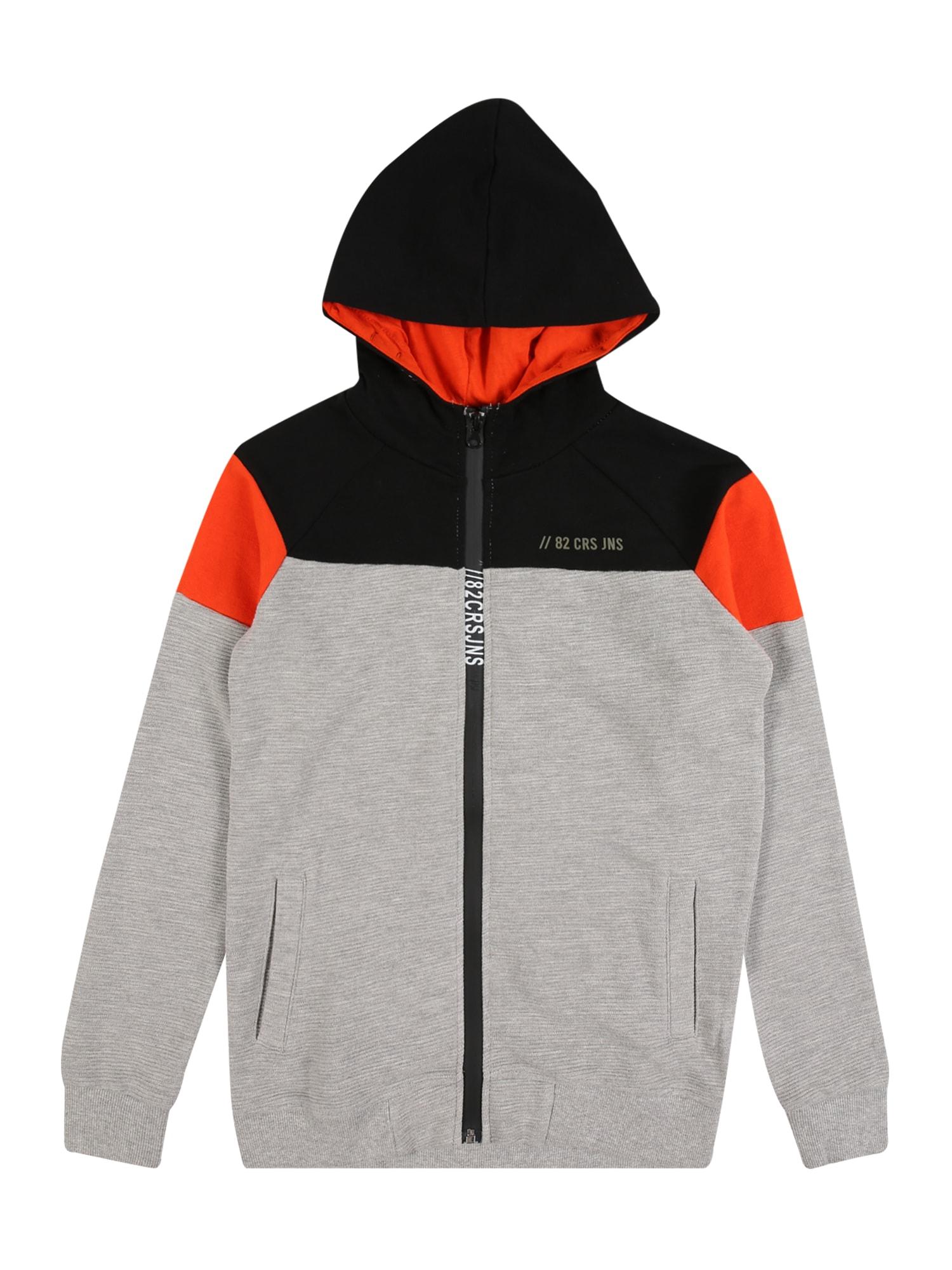 Cars Jeans Mikina 'Trocadero'  šedý melír / oranžová / černá