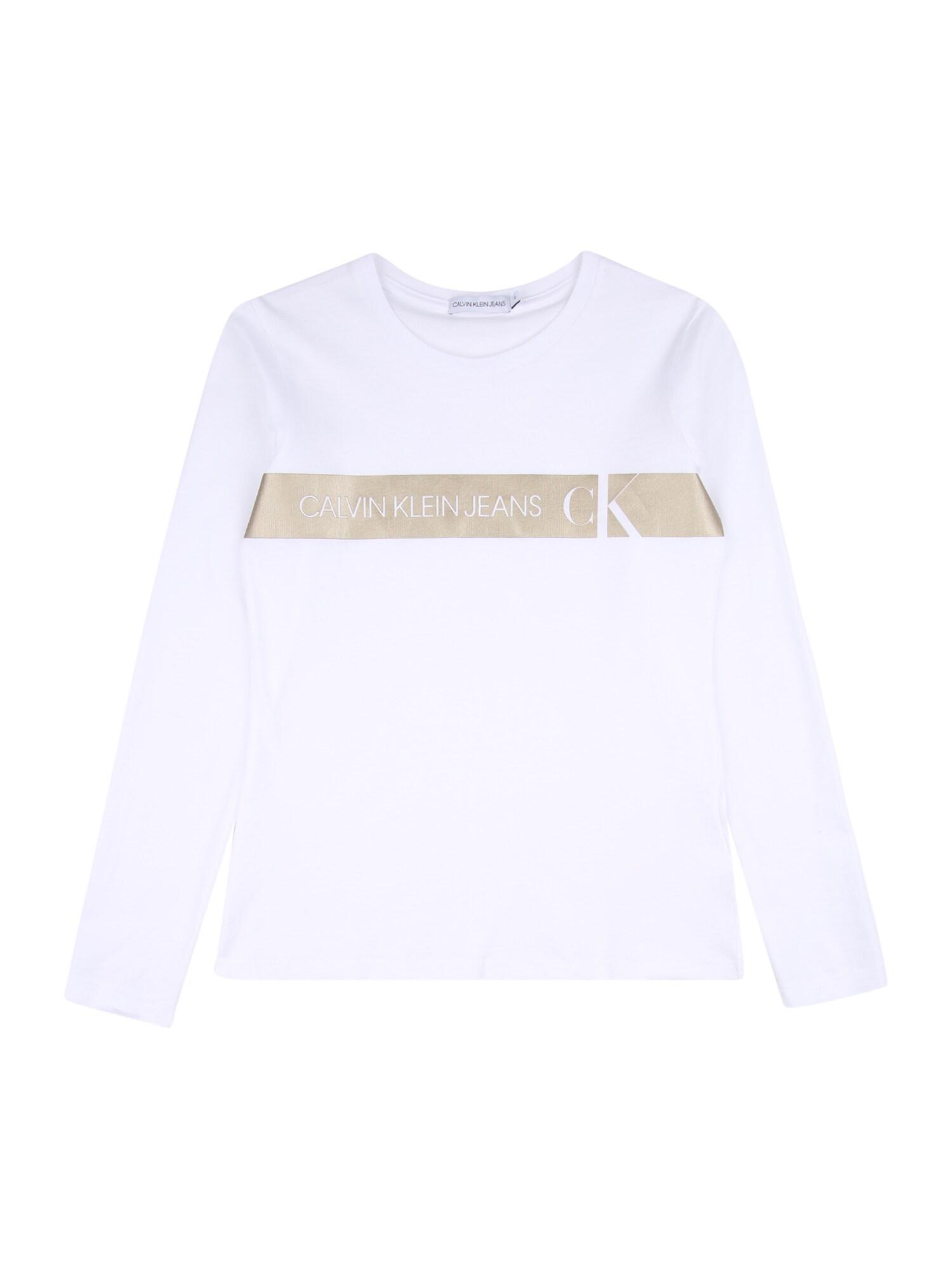 Calvin Klein Marškinėliai balta / sidabrinė