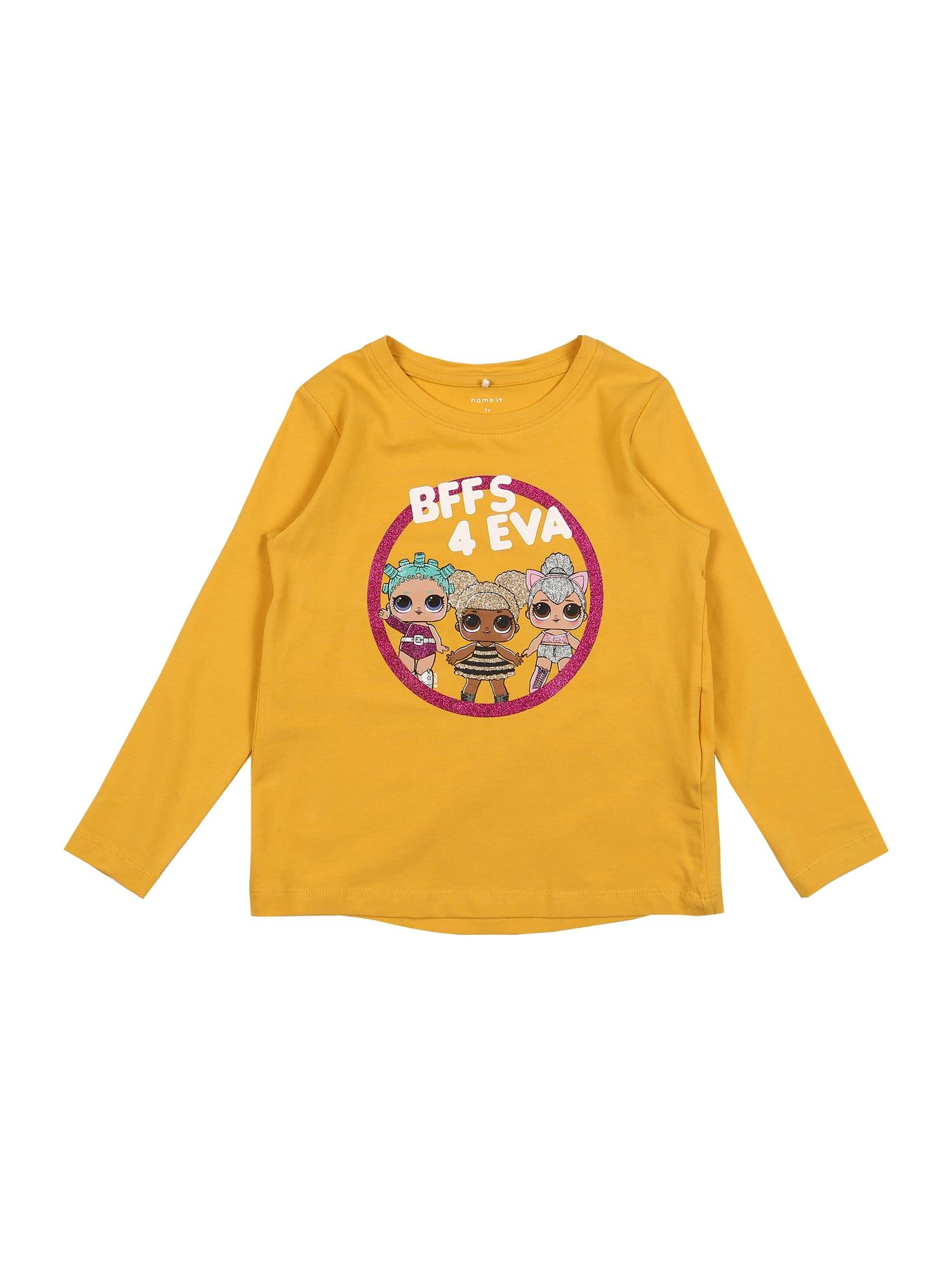 NAME IT Marškinėliai 'Flol' garstyčių spalva / mišrios spalvos