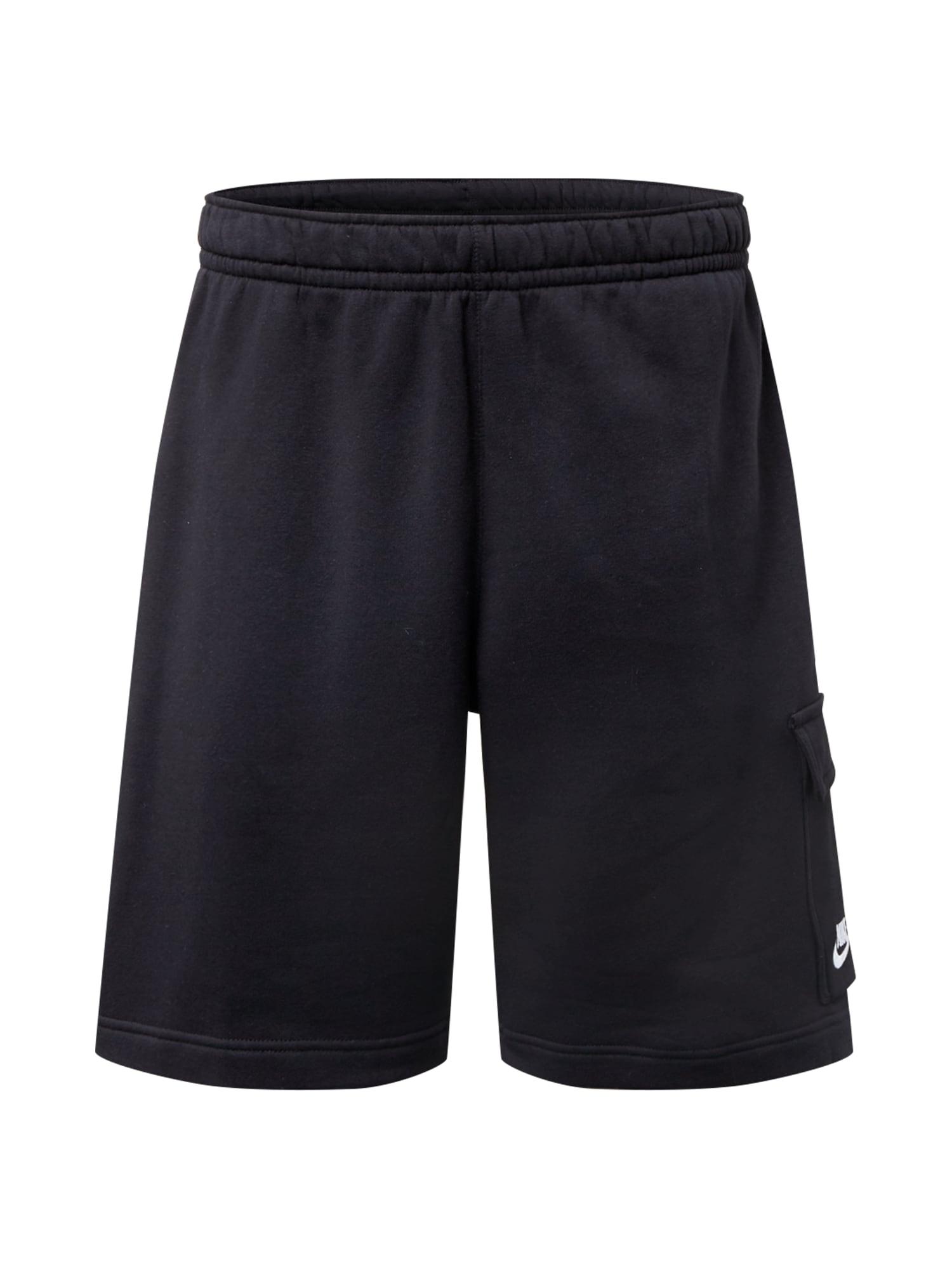 Nike Sportswear Laisvo stiliaus kelnės 'Club' juoda / balta