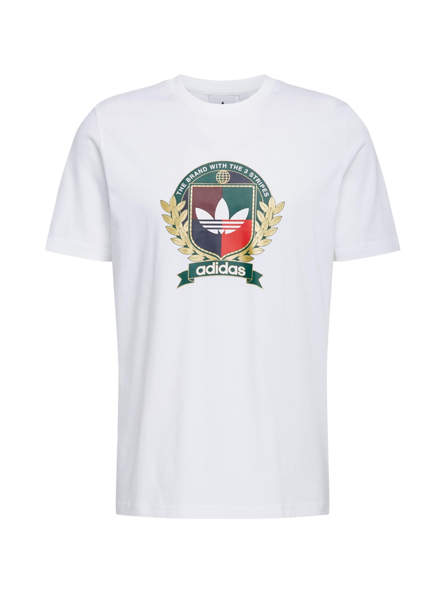 ADIDAS ORIGINALS Marškinėliai 'College Crest' balta / aukso geltonumo spalva / šviesiai raudona / vyno raudona spalva / įdegio spalva