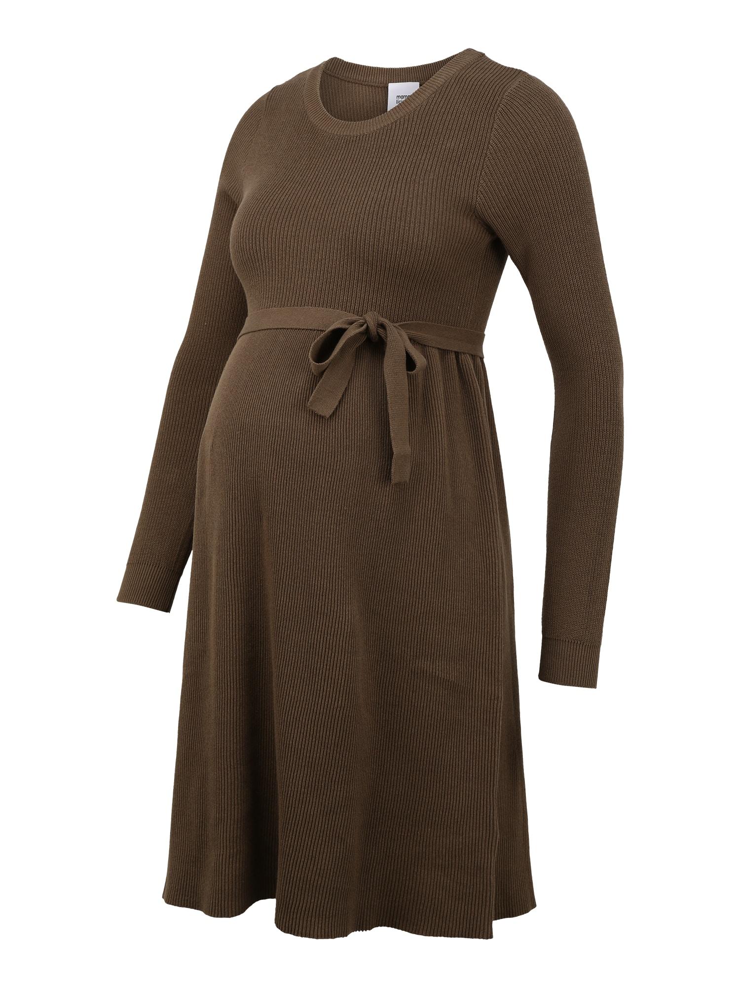 MAMALICIOUS Megzta suknelė alyvuogių spalva