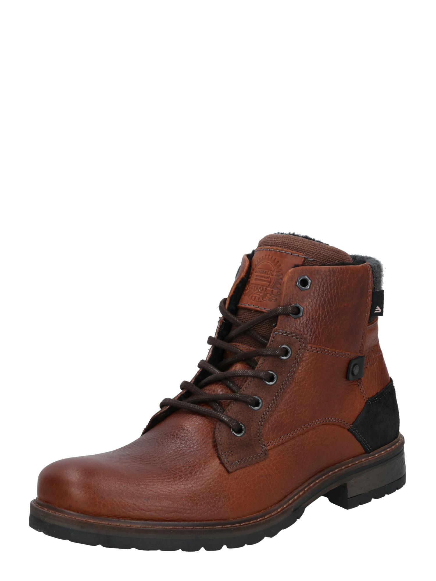 BULLBOXER Šněrovací boty  černá / karamelová / tmavě šedá