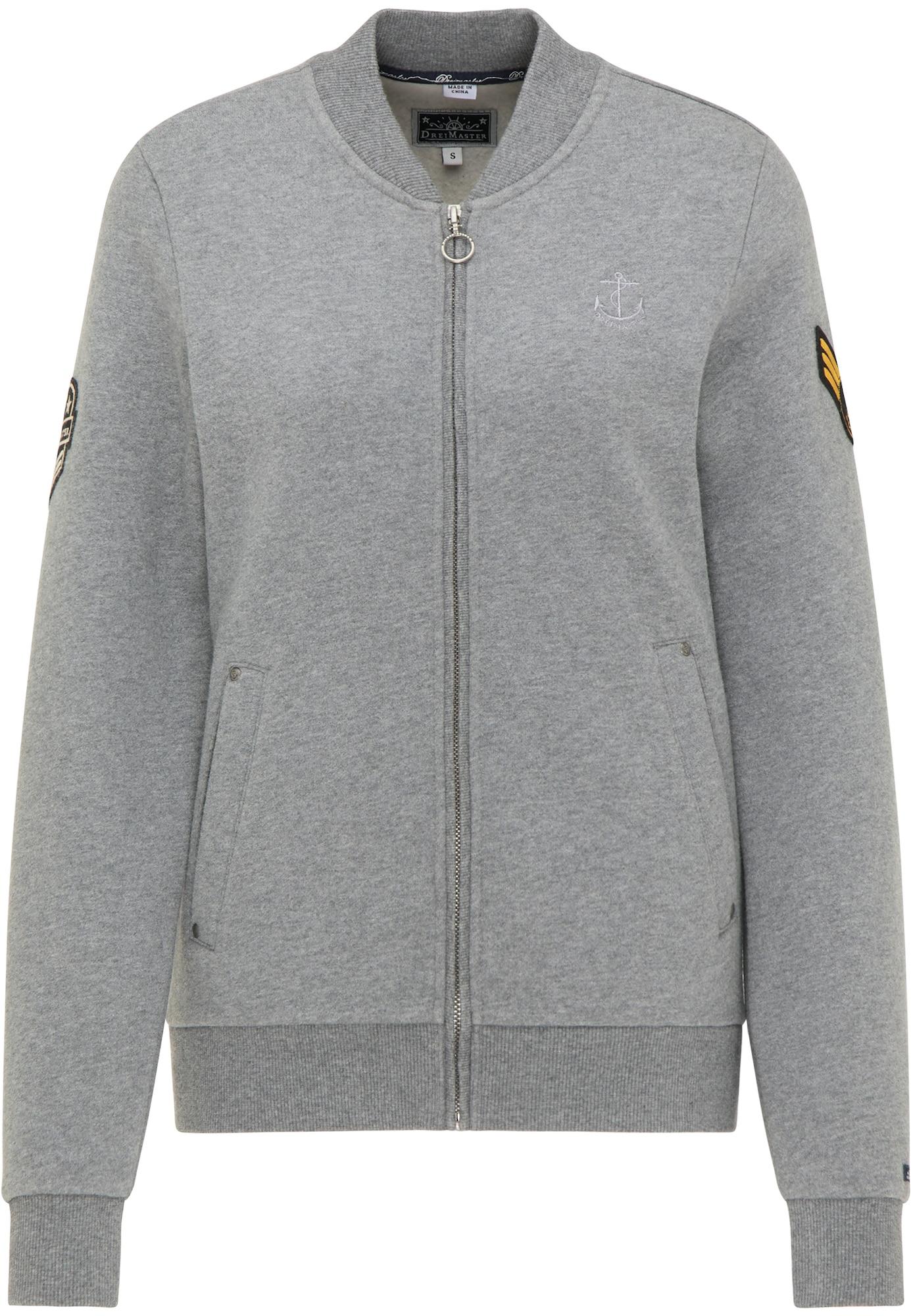 DreiMaster Maritim Džemperis margai pilka / juoda / aukso geltonumo spalva