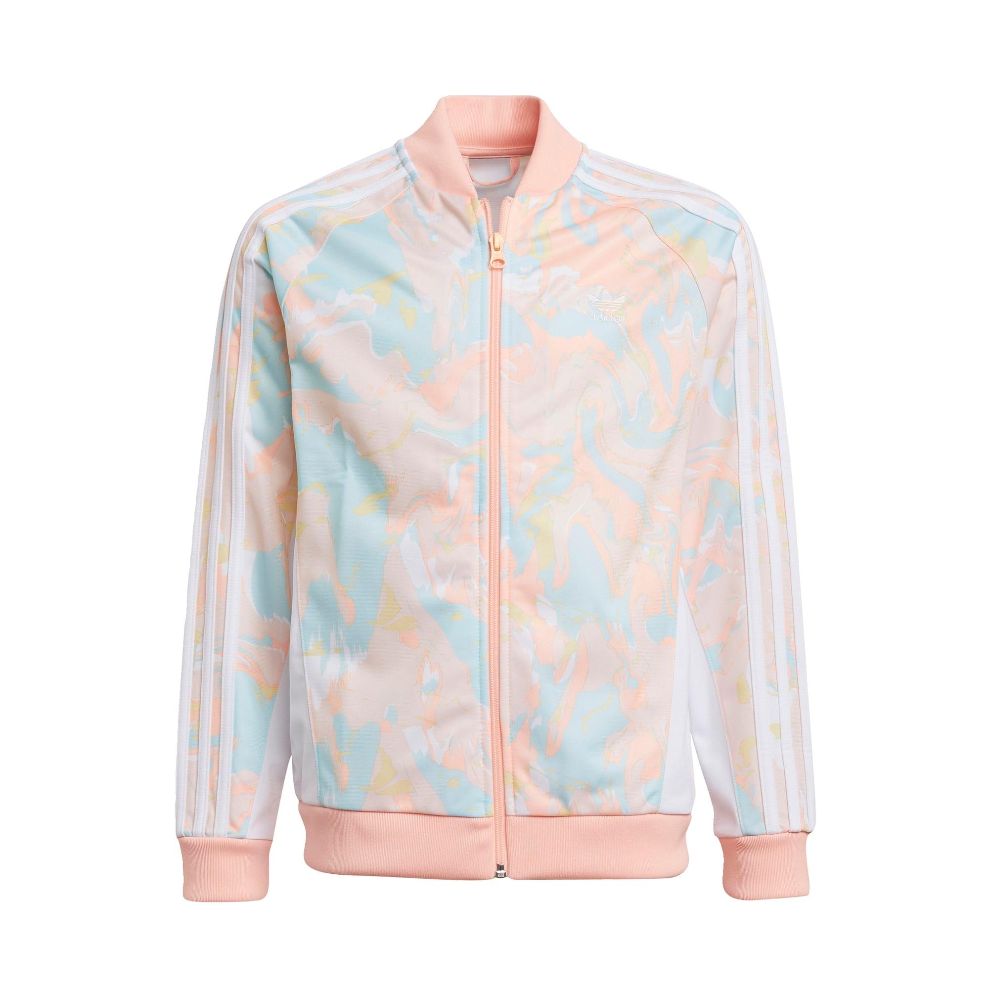 ADIDAS ORIGINALS Džemperis ryškiai rožinė spalva / šviesiai mėlyna / balta / persikų spalva