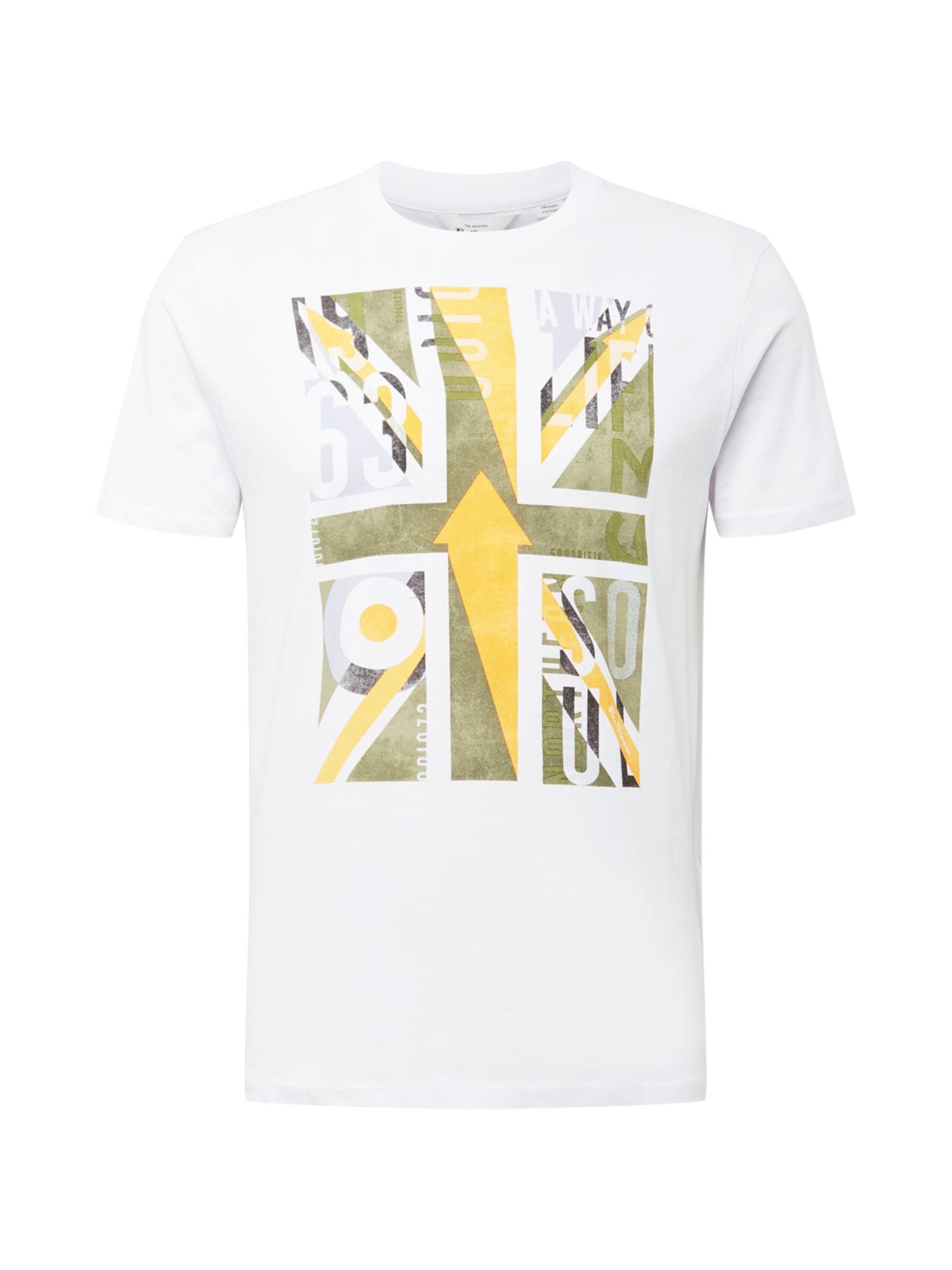 Ben Sherman Marškinėliai balta / šviesiai žalia / geltona / šviesiai pilka / grafito