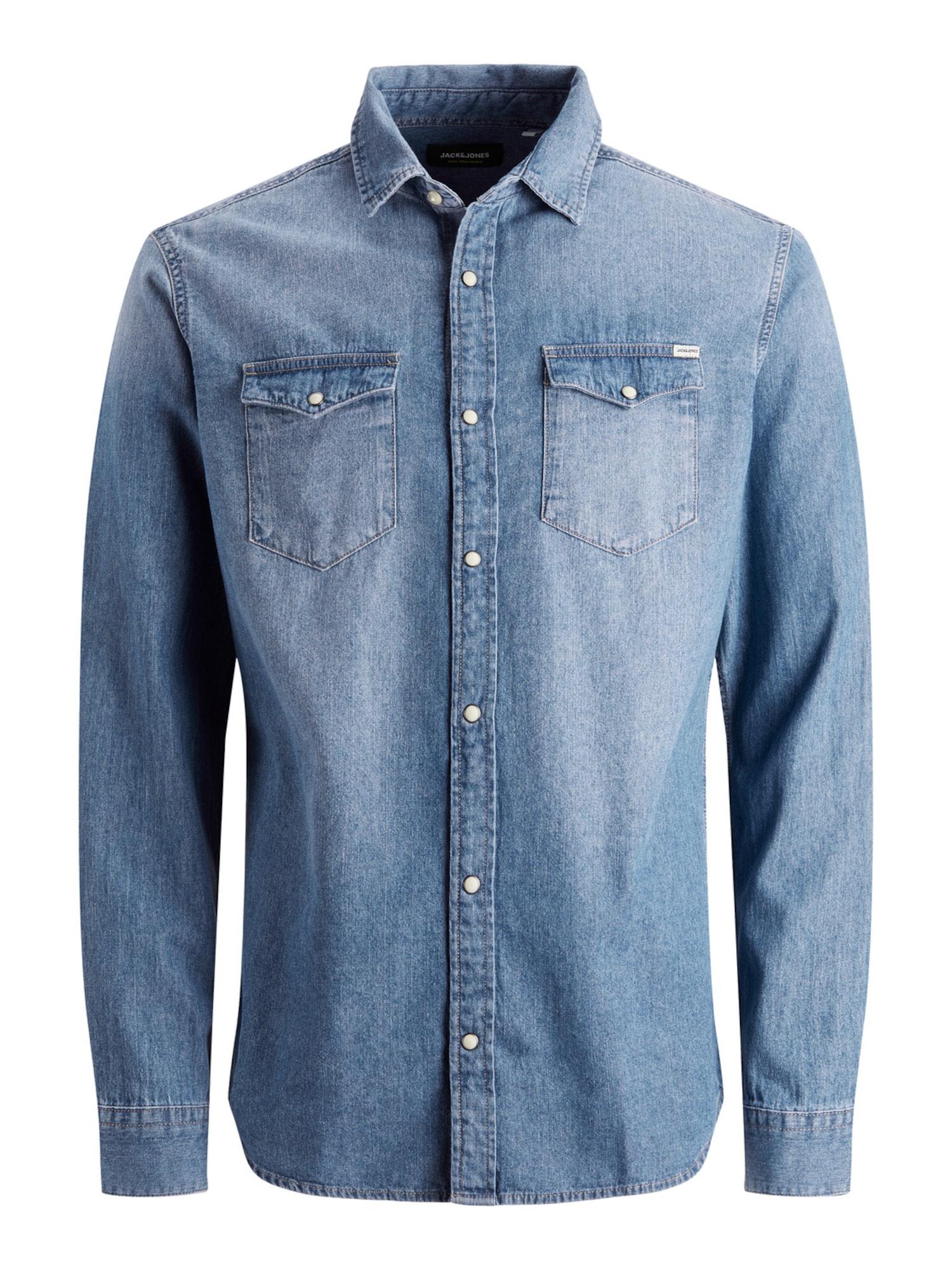 JACK & JONES Marškiniai tamsiai (džinso) mėlyna