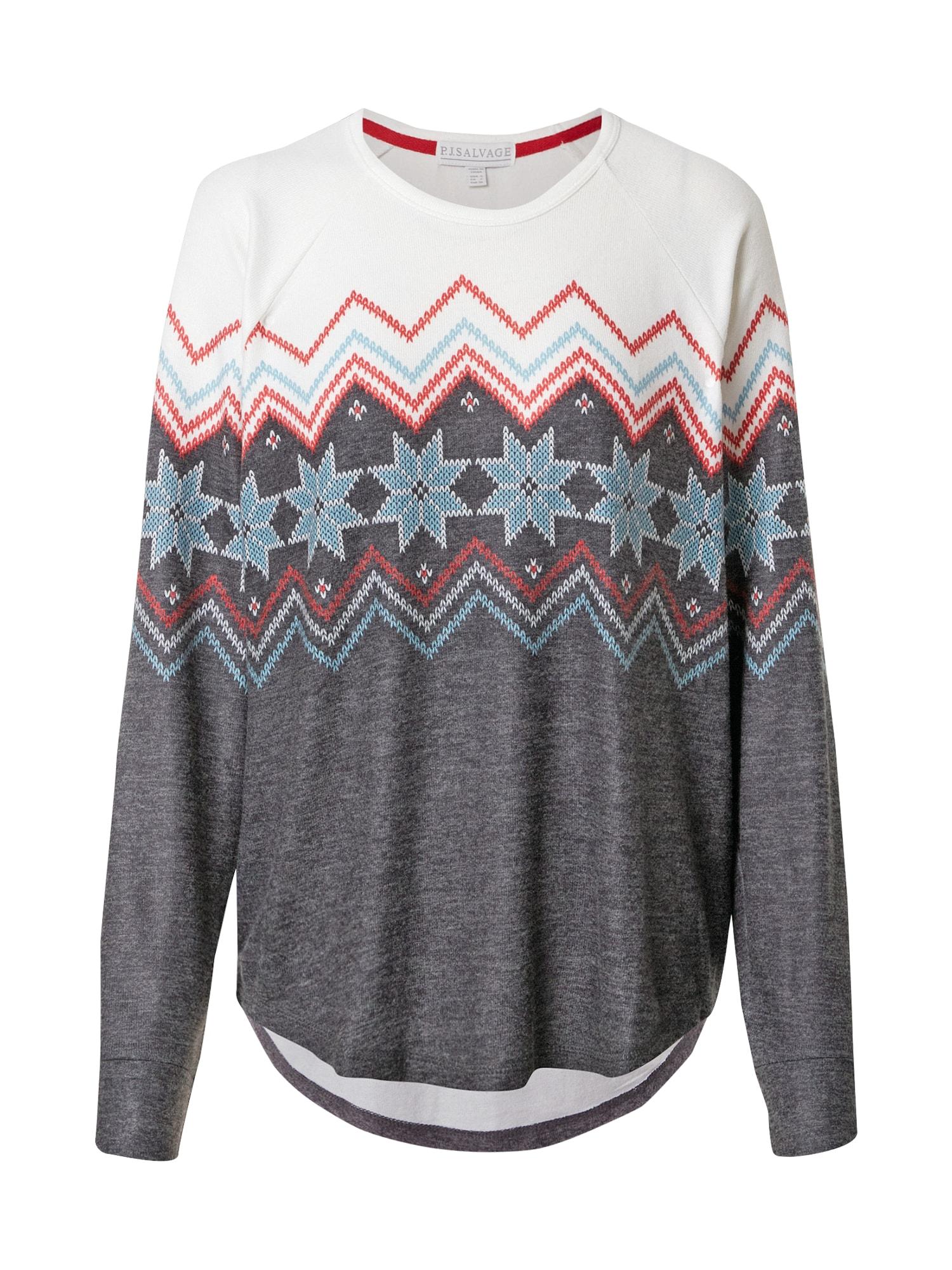 PJ Salvage Pižaminiai marškinėliai margai pilka / balta / raudona / šviesiai mėlyna
