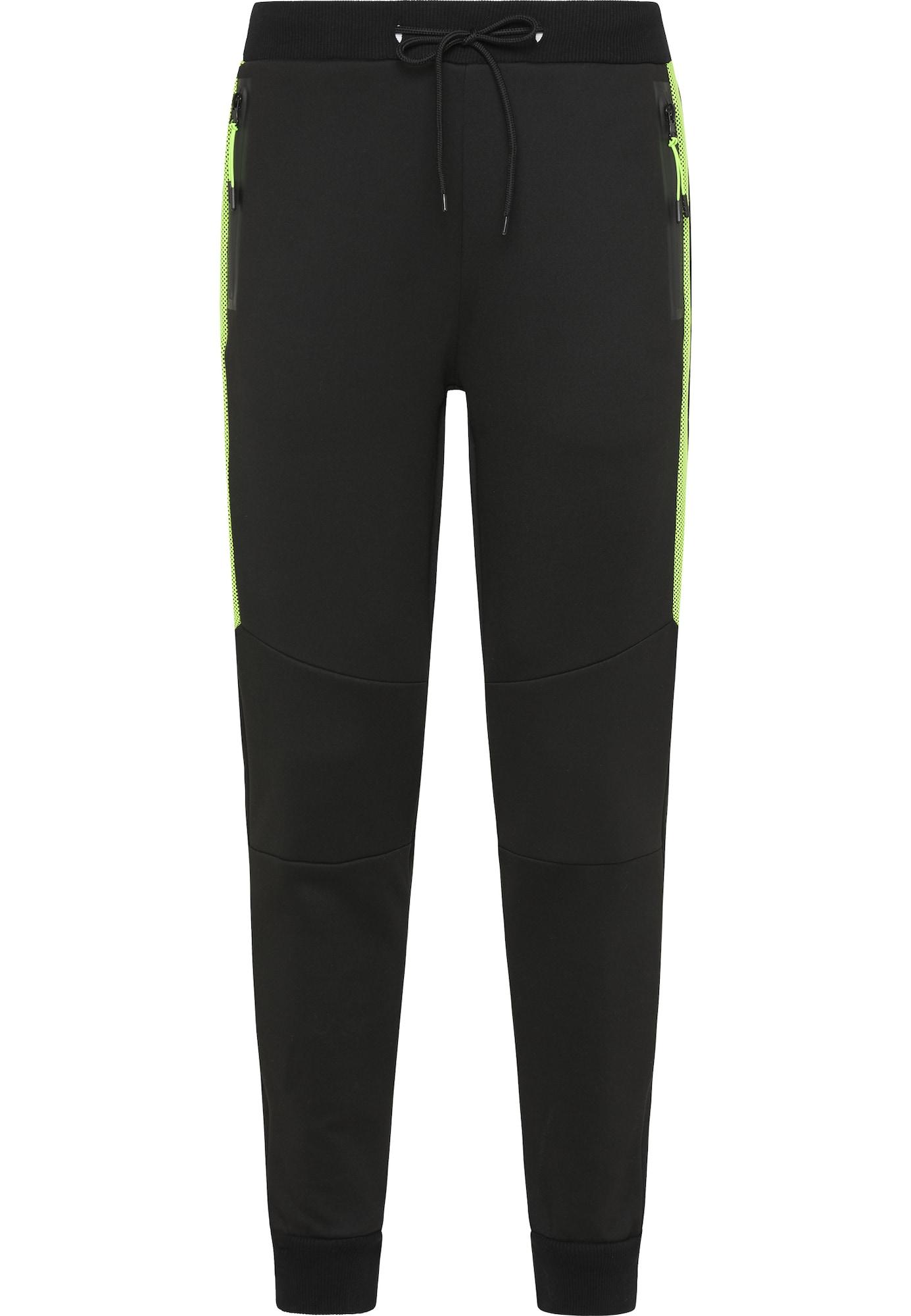 Mo SPORTS Kelnės juoda / šviesiai žalia