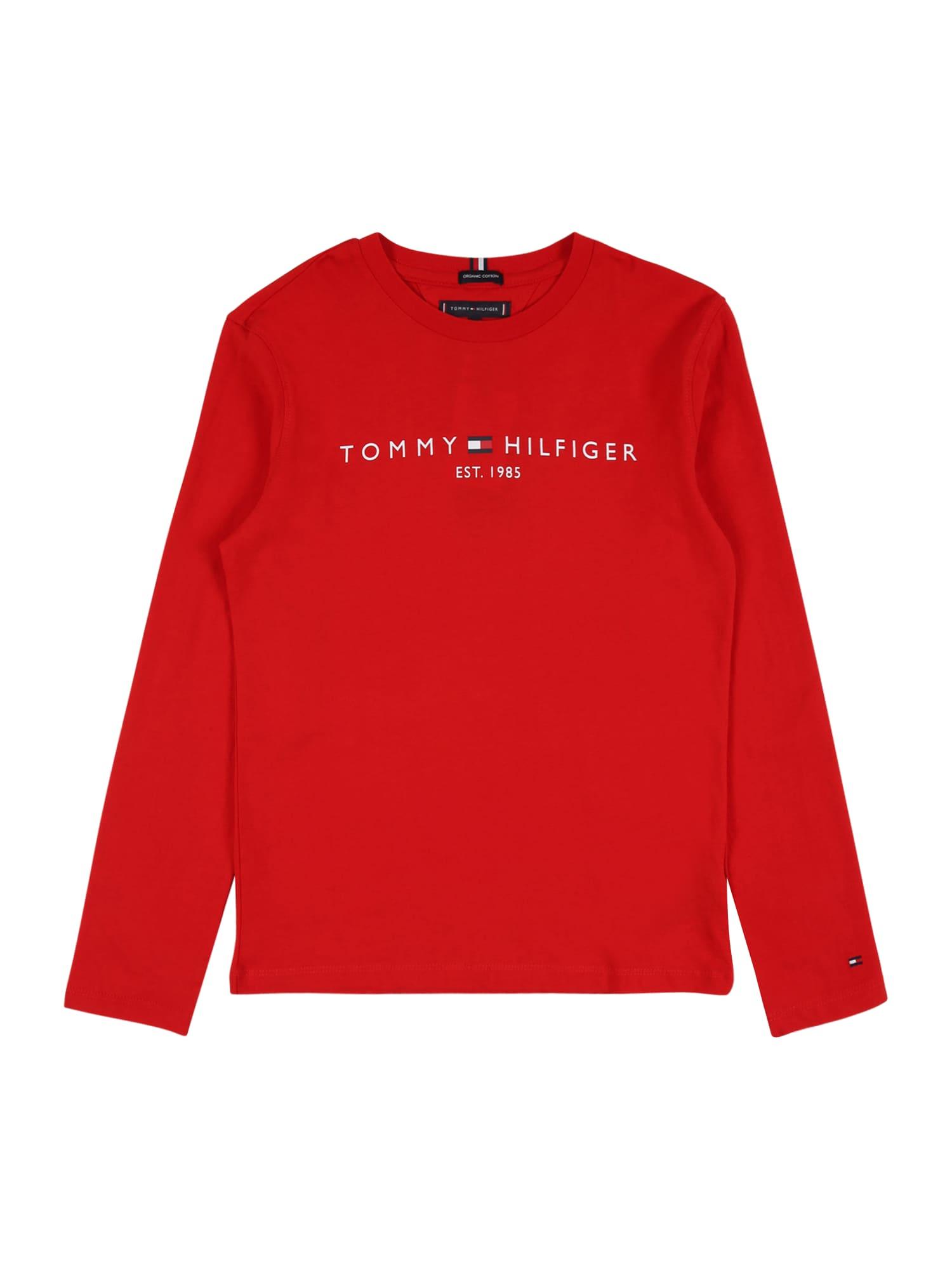 TOMMY HILFIGER Tričko 'ESSENTIAL'  červená / bílá