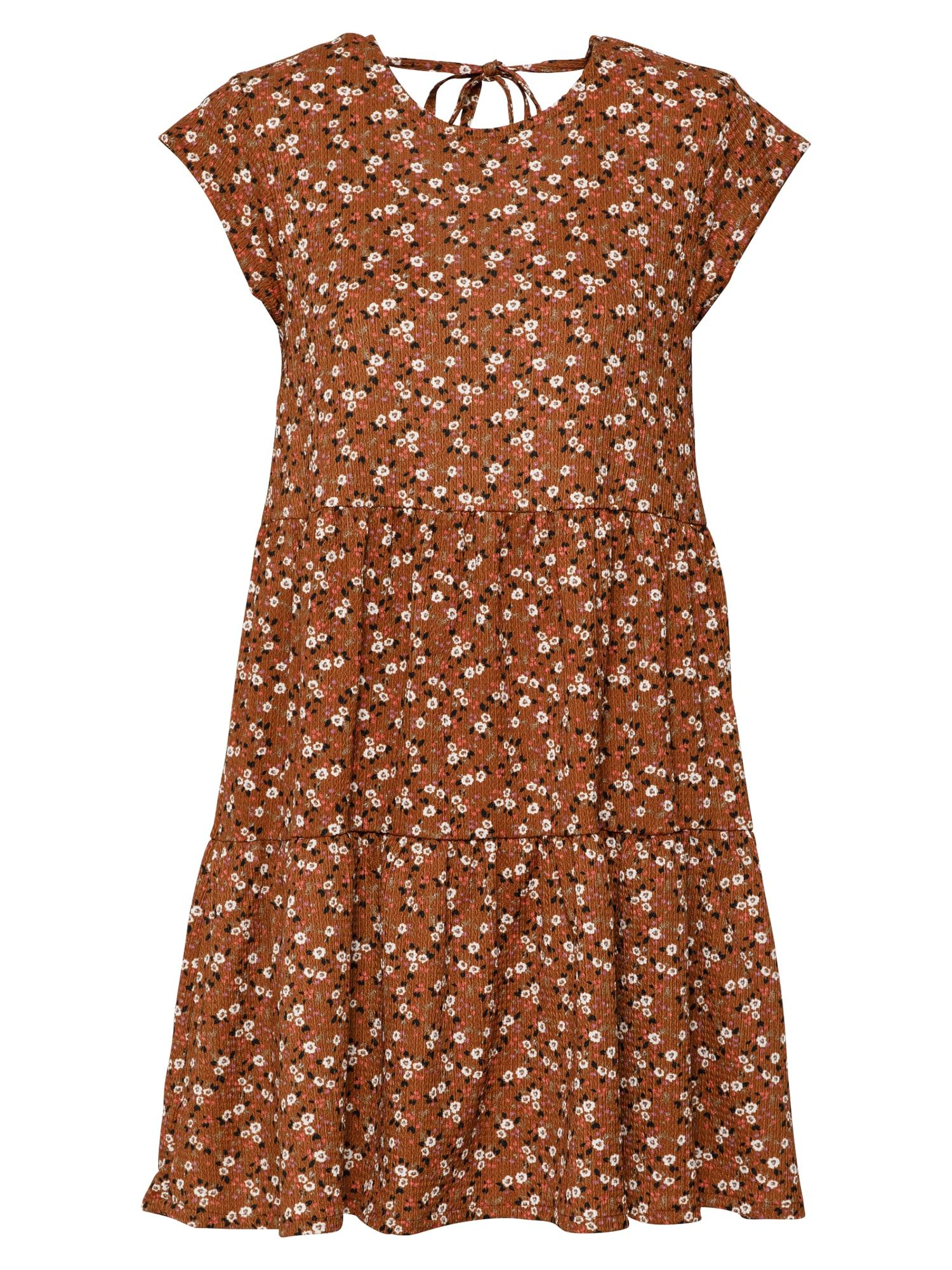 Stitch and Soul Vasarinė suknelė ruda / balta / juoda / purpurinė / melionų spalva