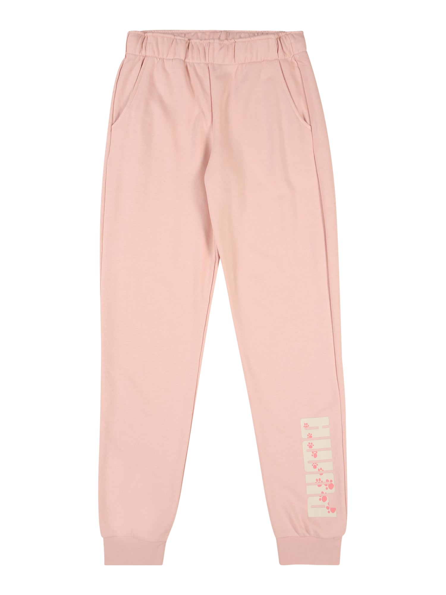 PUMA Sportinės kelnės balta / rožinė