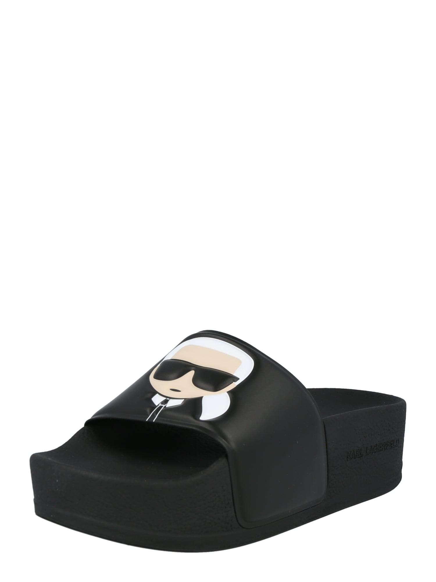 Karl Lagerfeld Šlepetės juoda / balta / smėlio