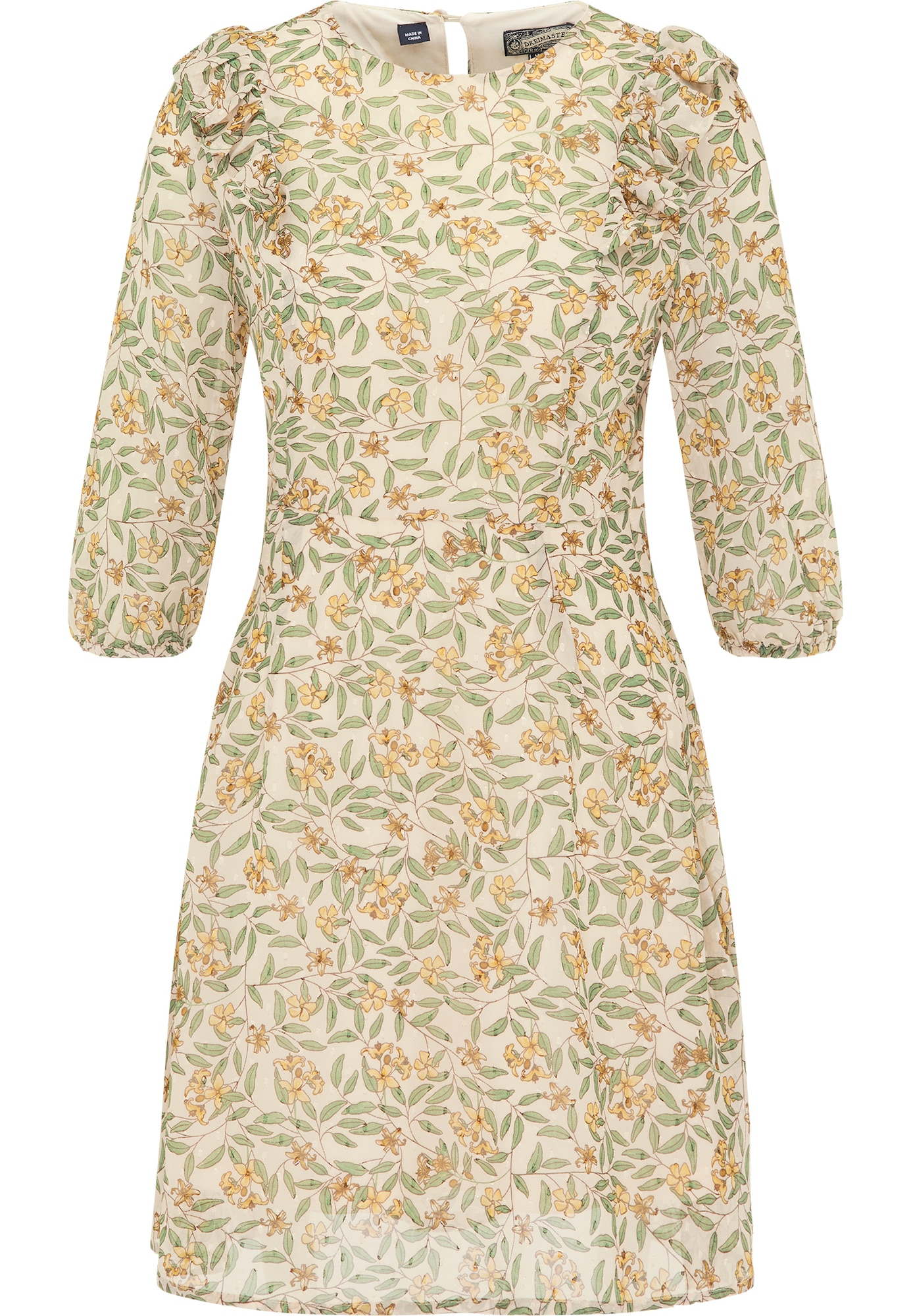 DreiMaster Vintage Vasarinė suknelė kremo / žalia / geltona