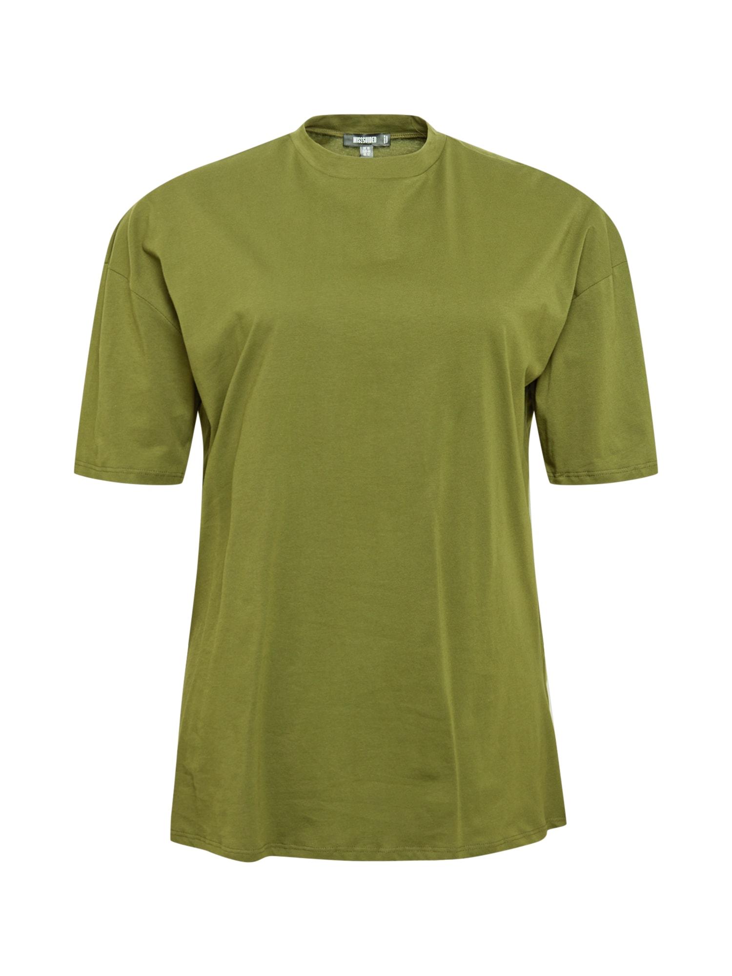 Missguided Plus Laisvi marškinėliai alyvuogių spalva